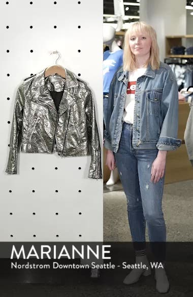 Metallic Faux Leather Moto Jacket, sales video thumbnail