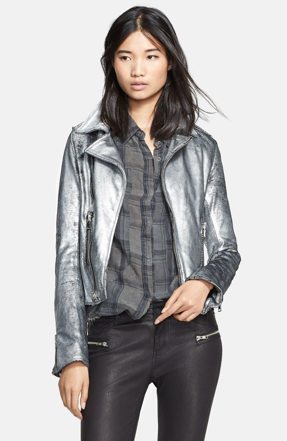 Metallic Leather Biker Jacket,                             Main thumbnail 1, color,                             099