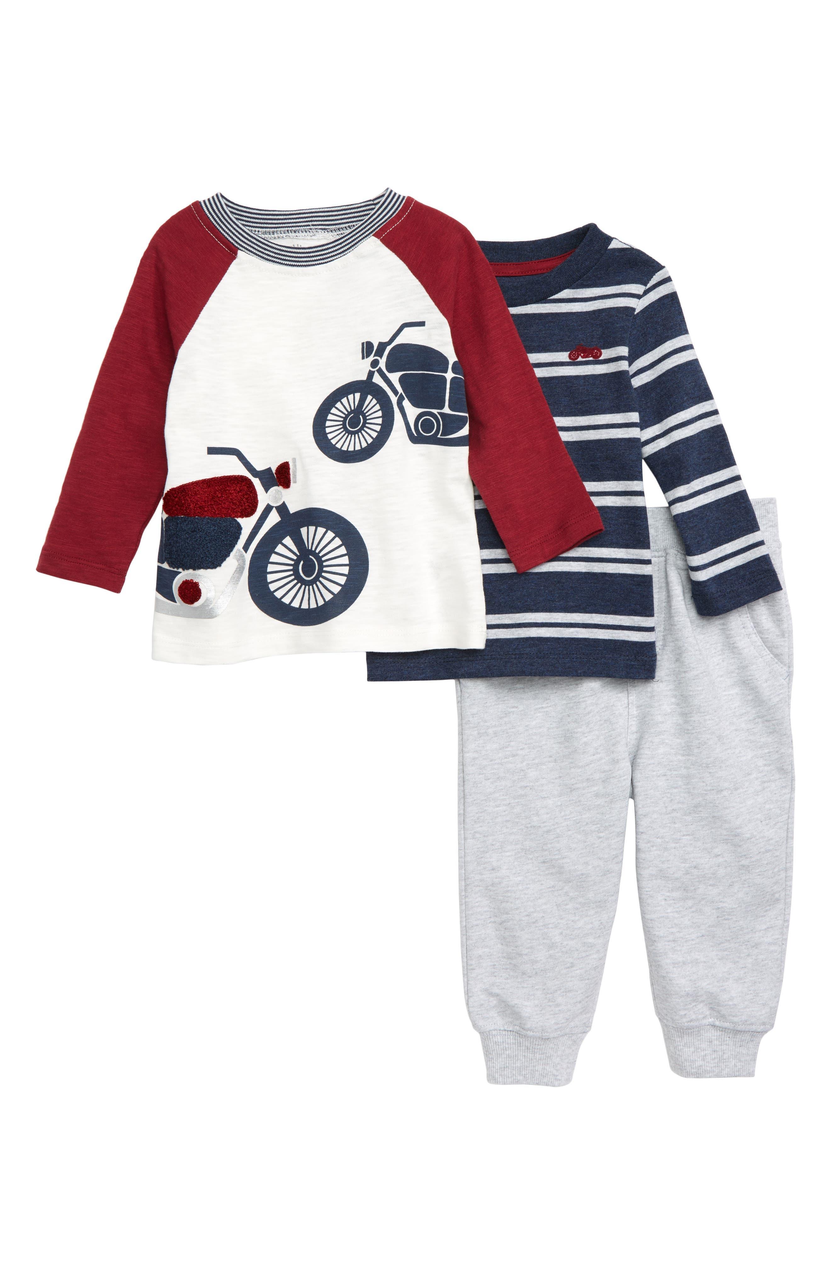 LITTLE ME Motorcycle T-Shirt, Stripe T-Shirt & Jogger Pants Set, Main, color, GREY HEATHER MULTI