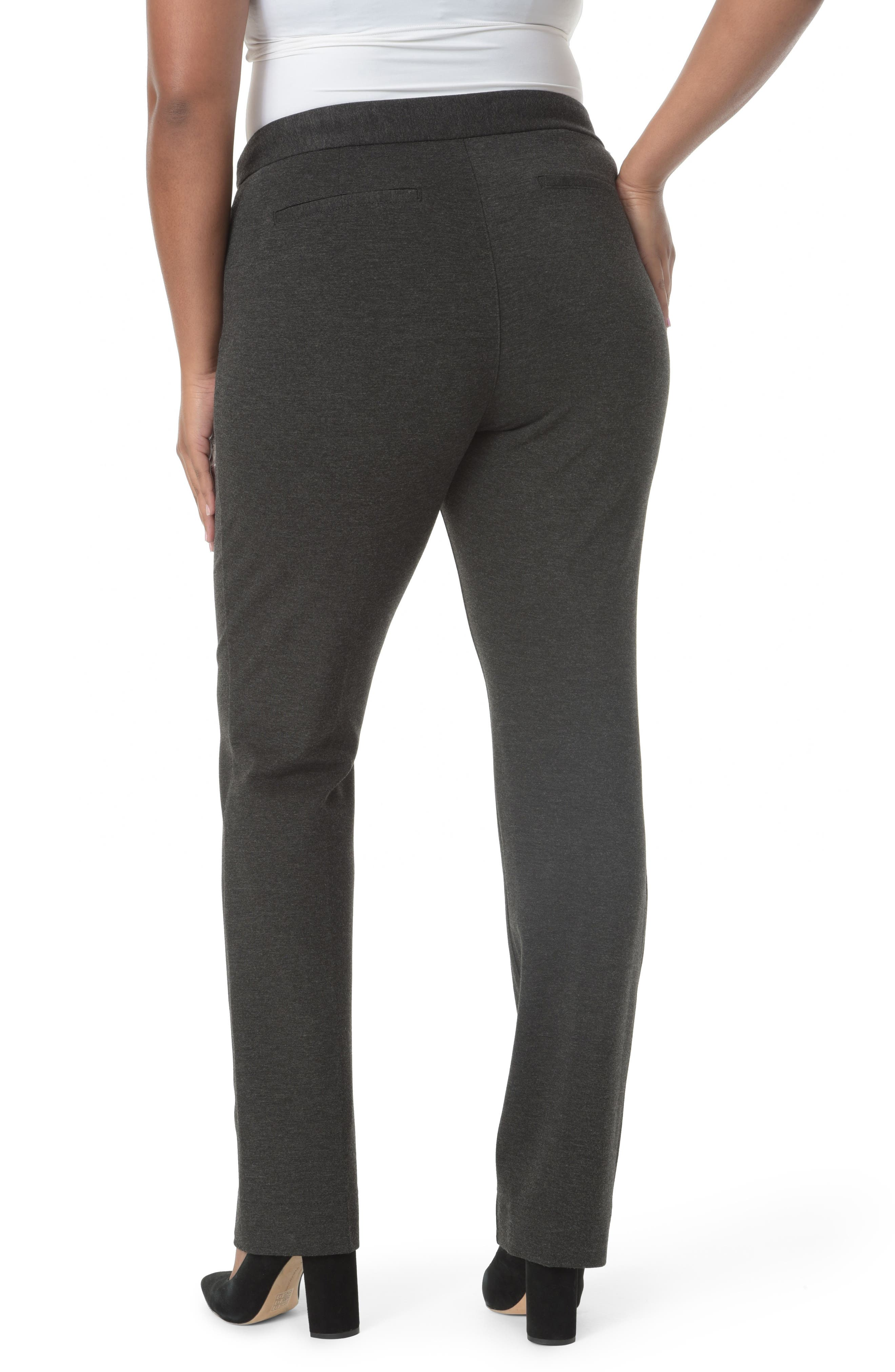 Stretch Knit Straight Leg Trousers,                             Alternate thumbnail 2, color,                             CHARCOAL