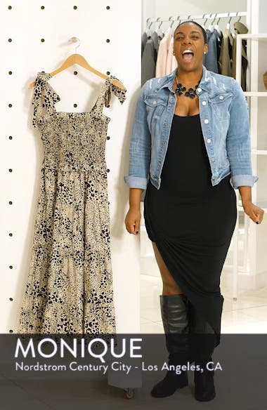 Leopard Print Smocked Dress, sales video thumbnail