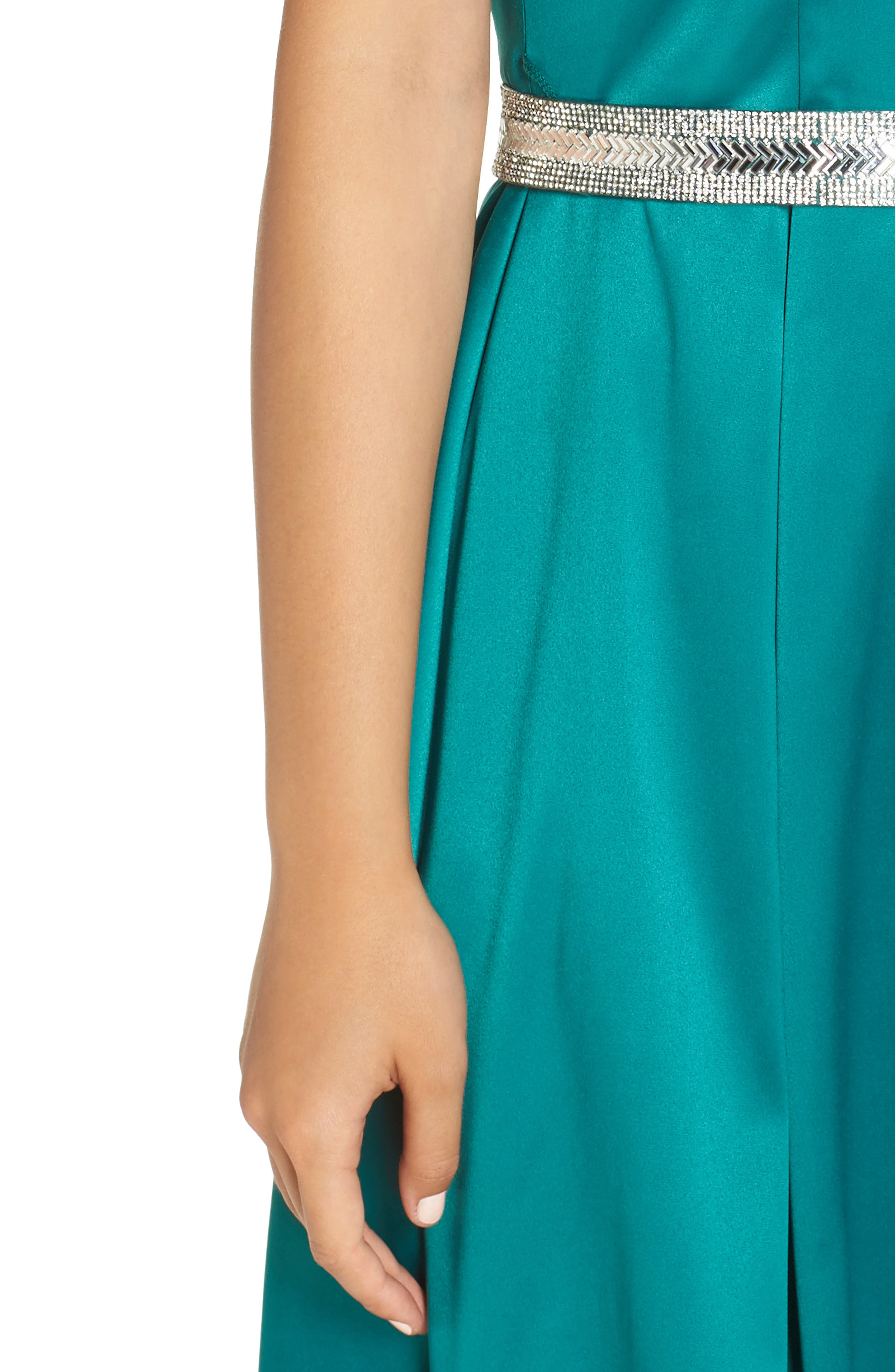 Belted Stretch Satin High/Low Dress,                             Alternate thumbnail 4, color,                             EMERALD