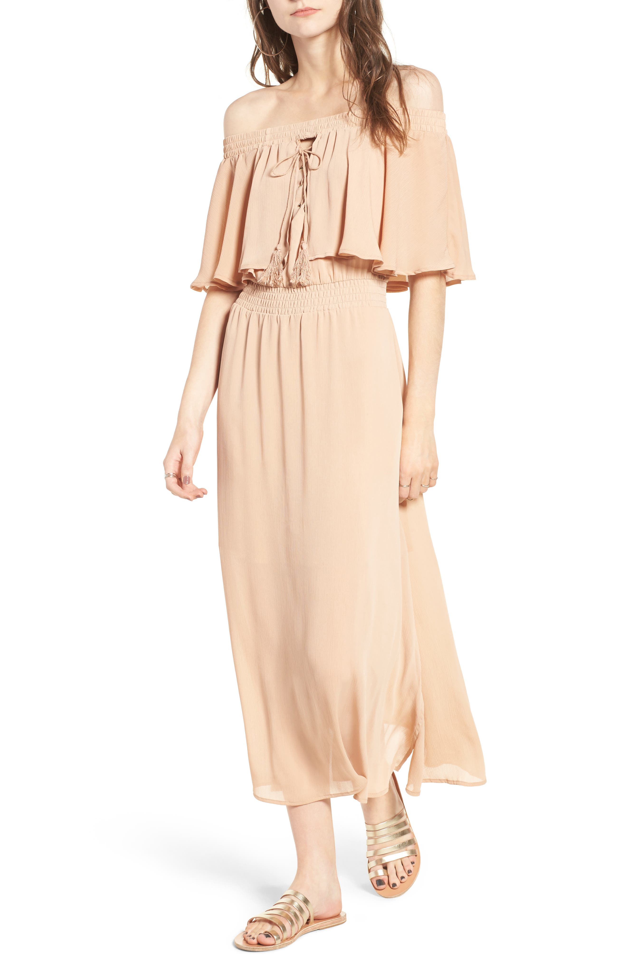 Touch the Sun Off the Shoulder Dress,                             Main thumbnail 2, color,