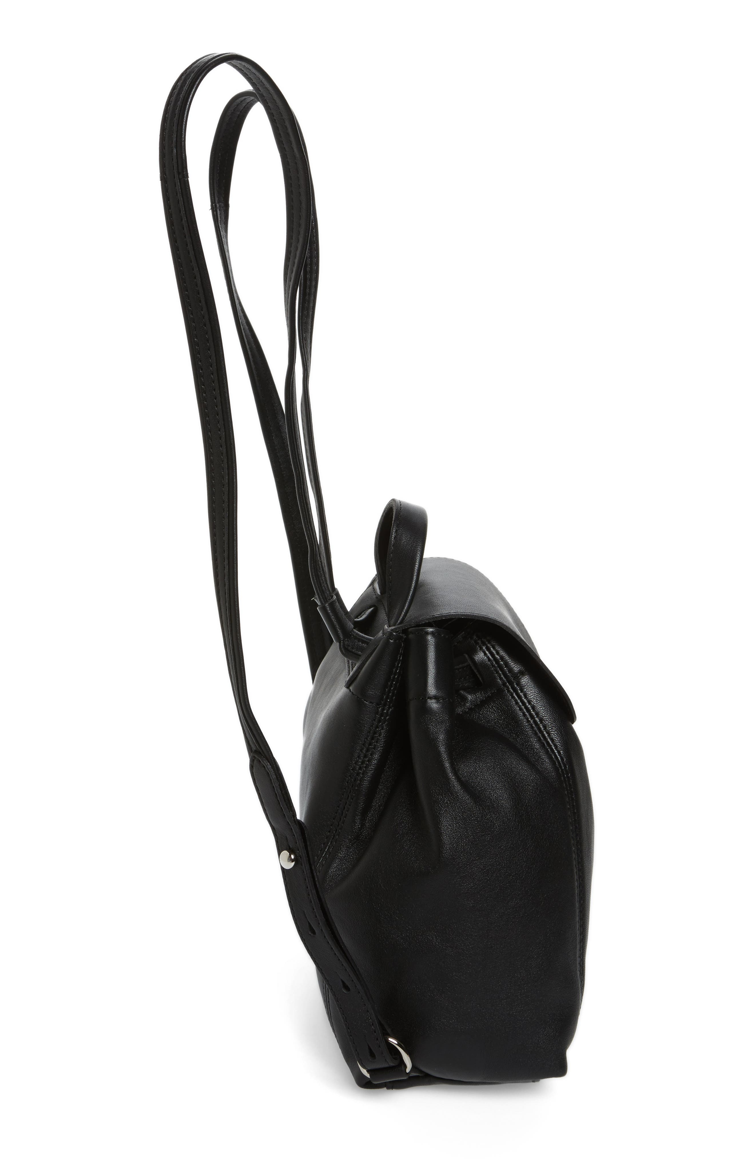 Extra Small Le Pliage Cuir Backpack,                             Alternate thumbnail 5, color,                             BLACK