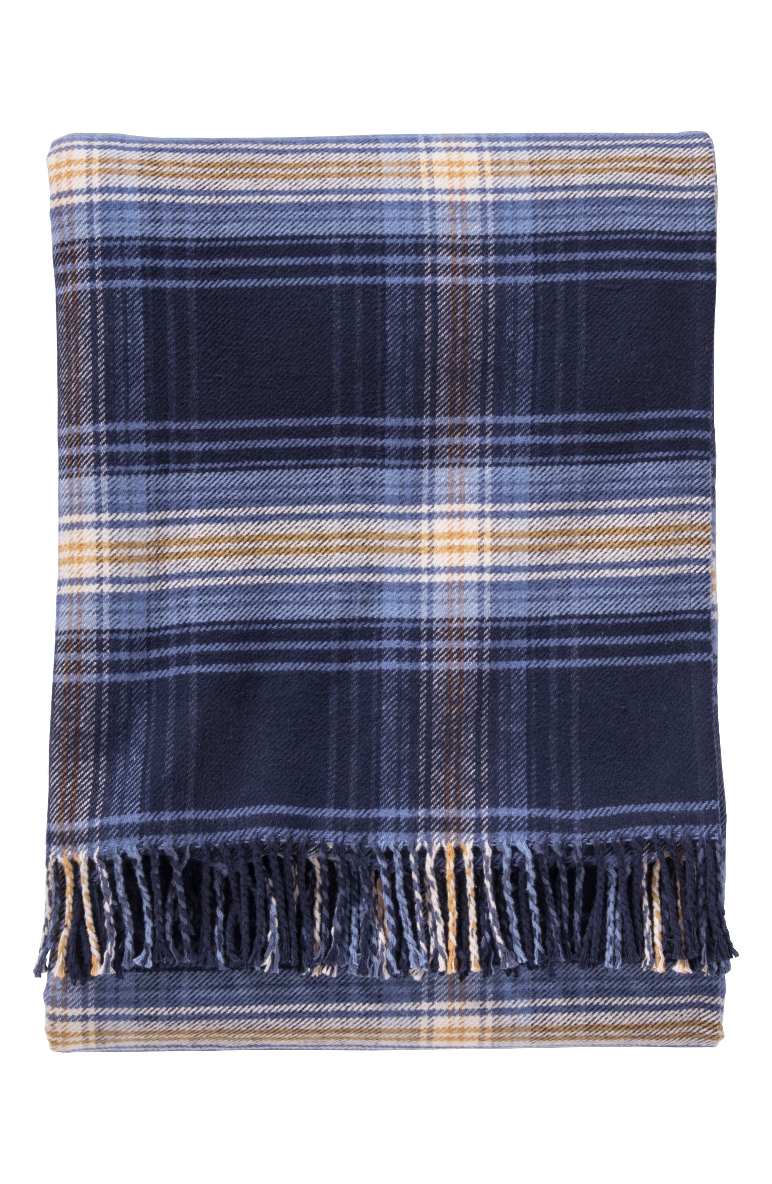 Ombre Plaid Throw,                             Main thumbnail 1, color,                             BLUE AND GOLD