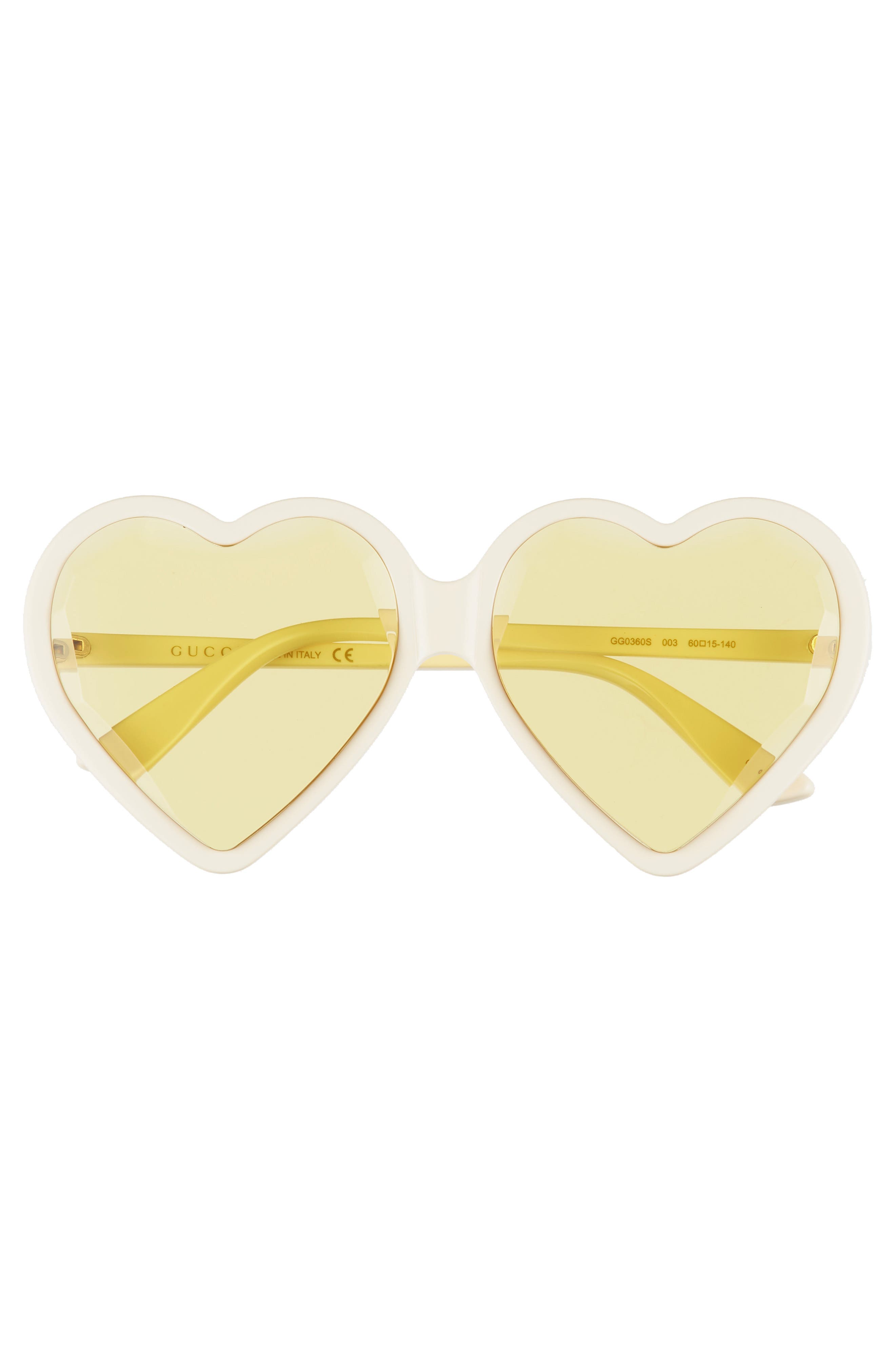 GUCCI,                             60mm Heart Sunglasses,                             Alternate thumbnail 3, color,                             IVORY/ YELLOW