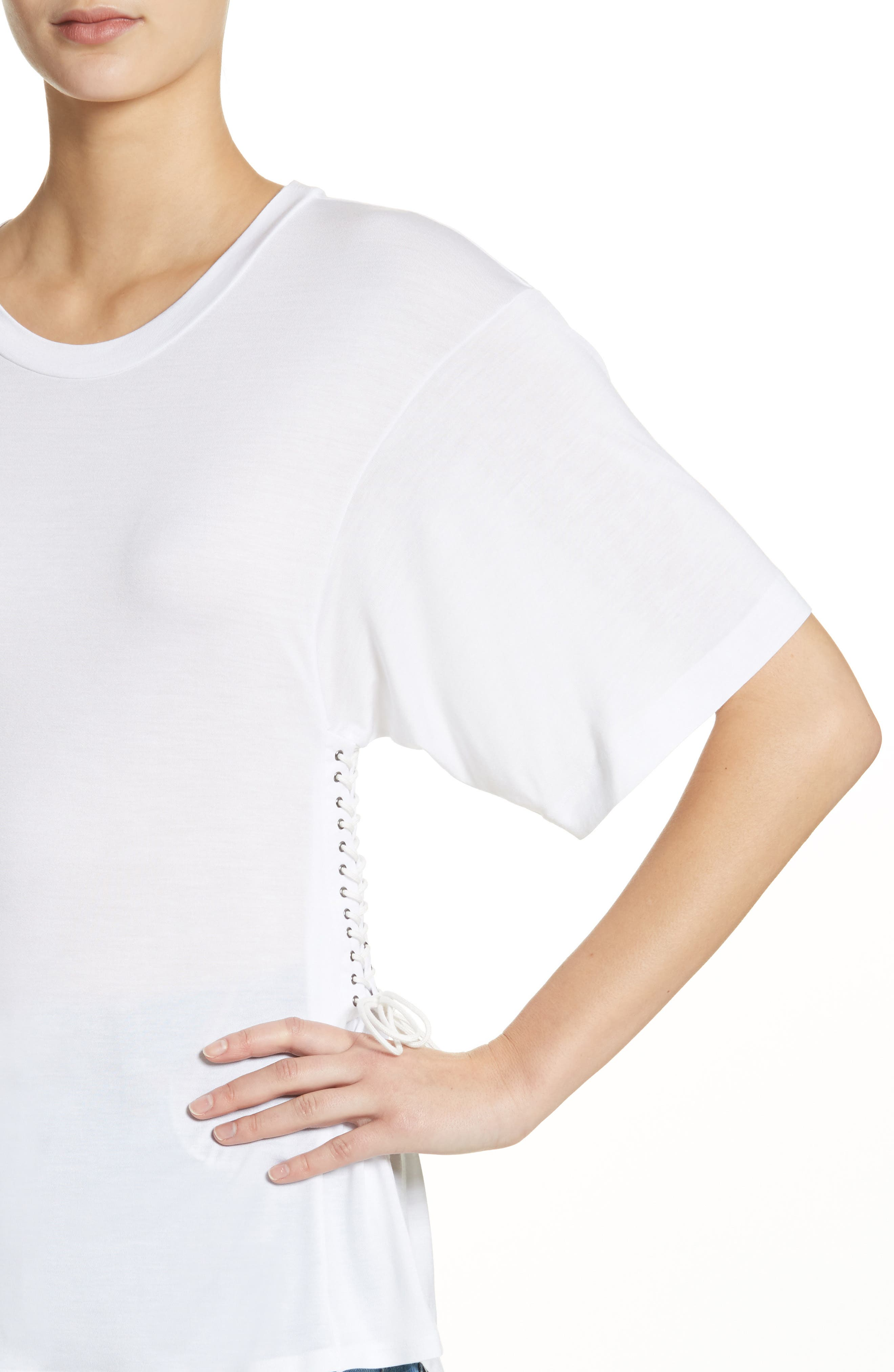 Axel Lace-Up Tee,                             Alternate thumbnail 4, color,                             WHITE