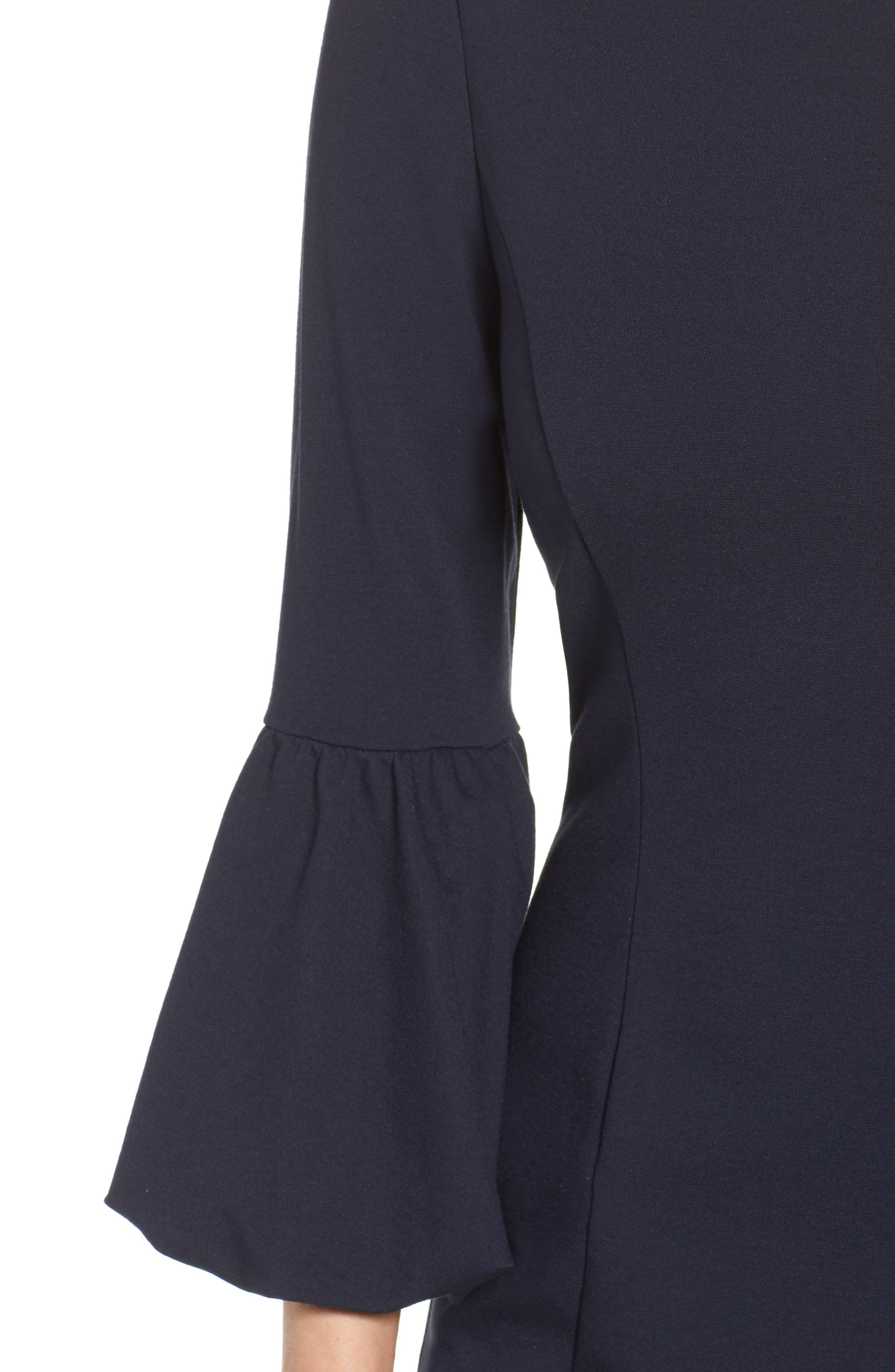 Ruffle Sleeve Sheath Dress,                             Alternate thumbnail 4, color,                             NAVY