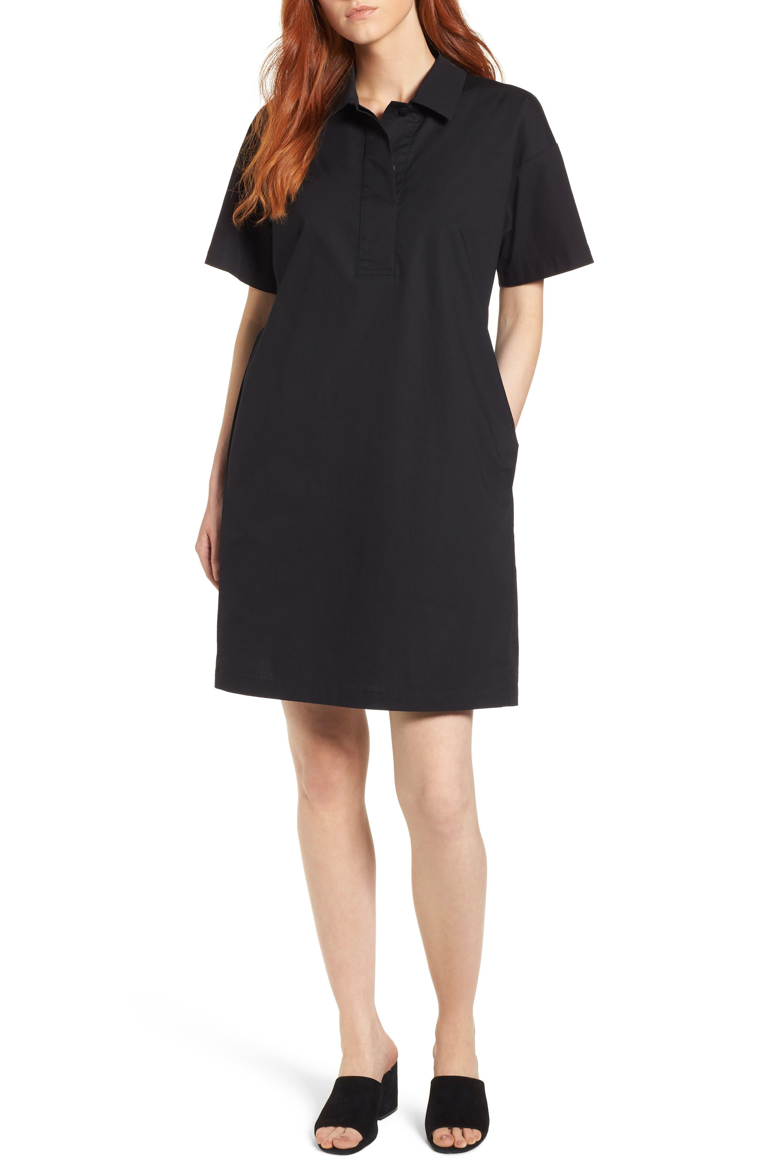 Organic Cotton Poplin Shirtdress,                             Main thumbnail 1, color,                             001