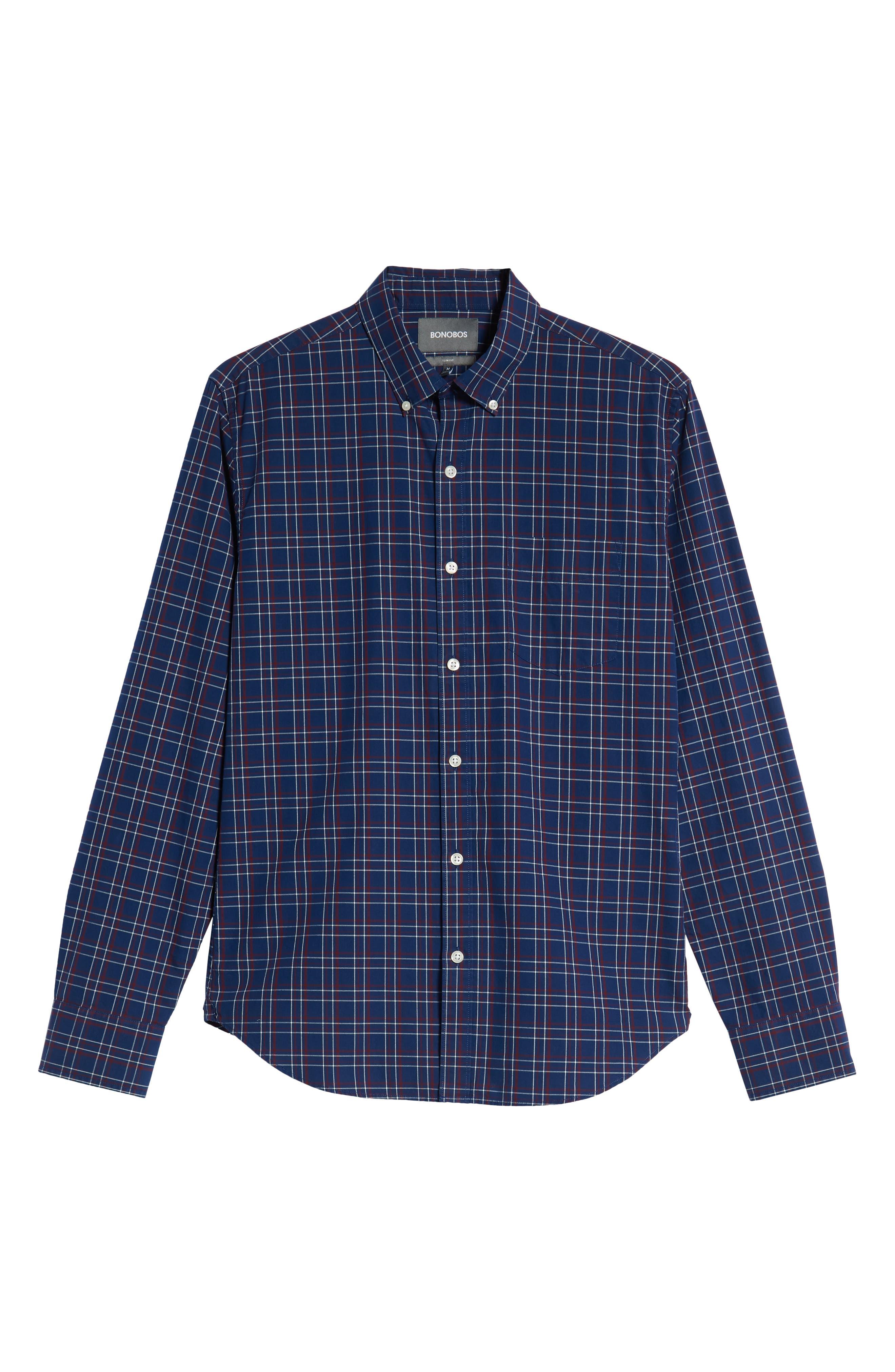 Slim Fit Washed Check Sport Shirt,                             Alternate thumbnail 5, color,                             CALVIN CHECK - BLUE CORN