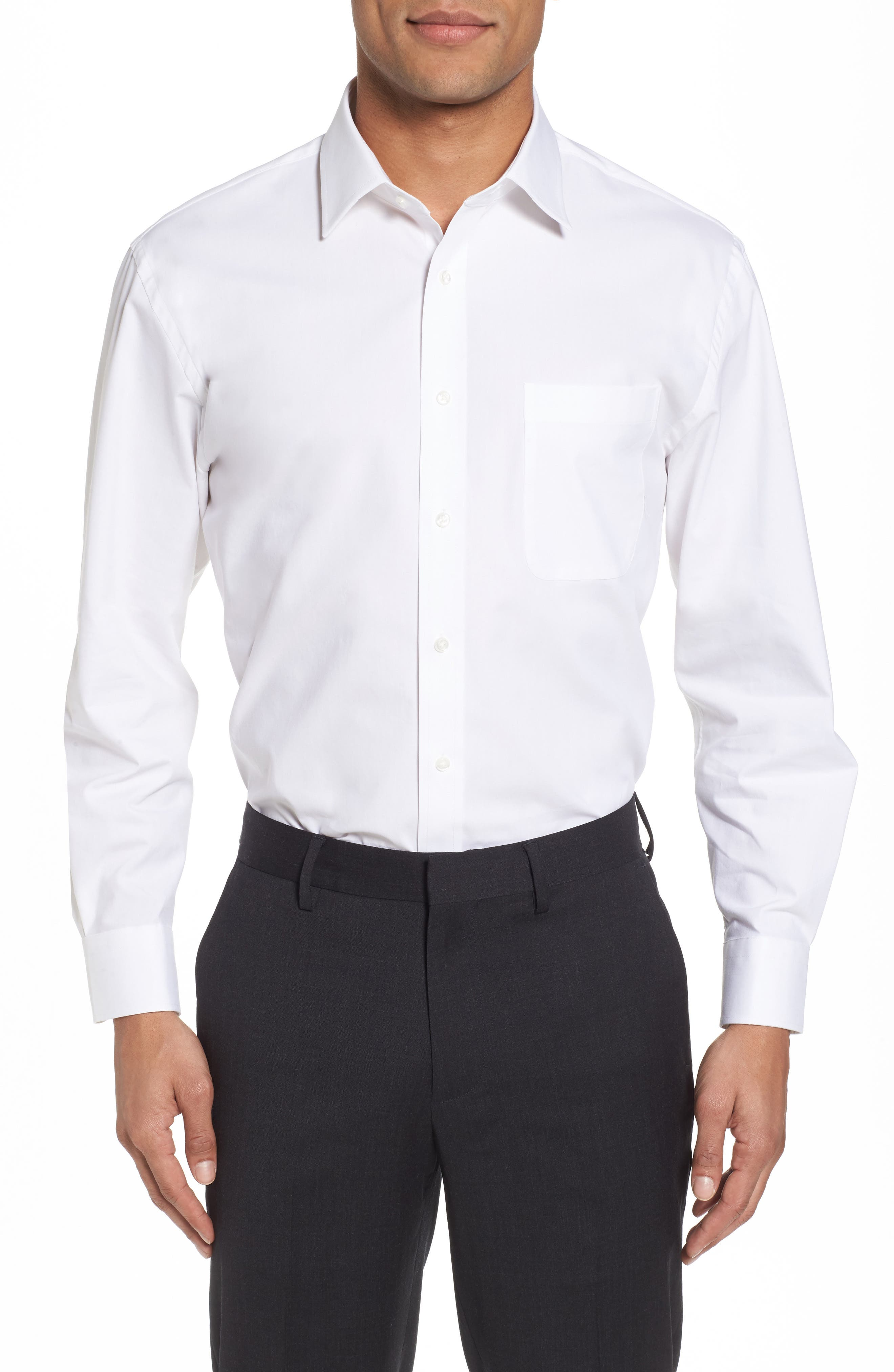 Tech-Smart Traditional Fit Stretch Pintpoint Dress Shirt,                         Main,                         color, WHITE