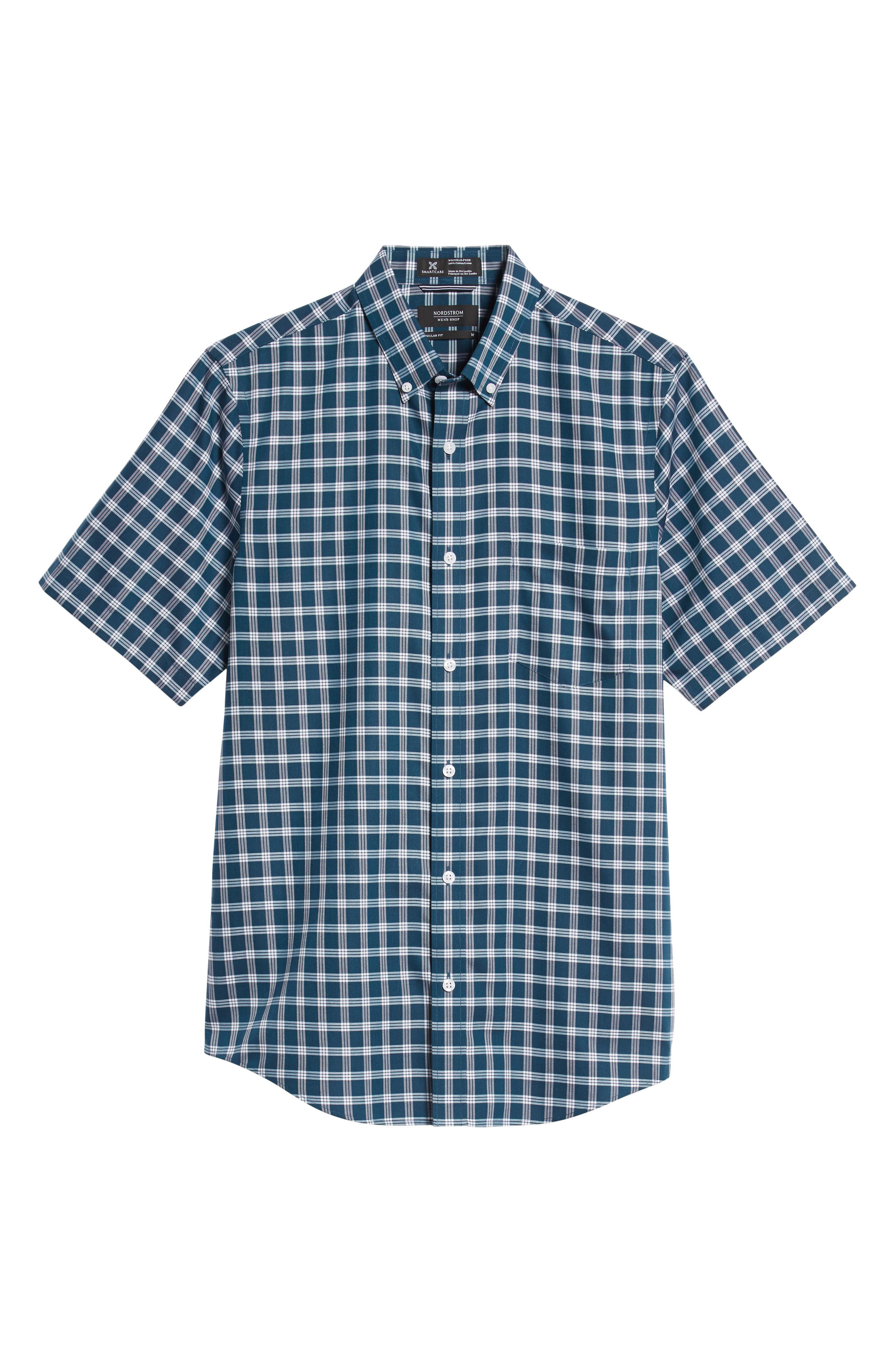 Smartcare<sup>™</sup> Slim Fit Check Sport Shirt,                             Alternate thumbnail 5, color,                             TEAL GLOSS WHITE CHECK