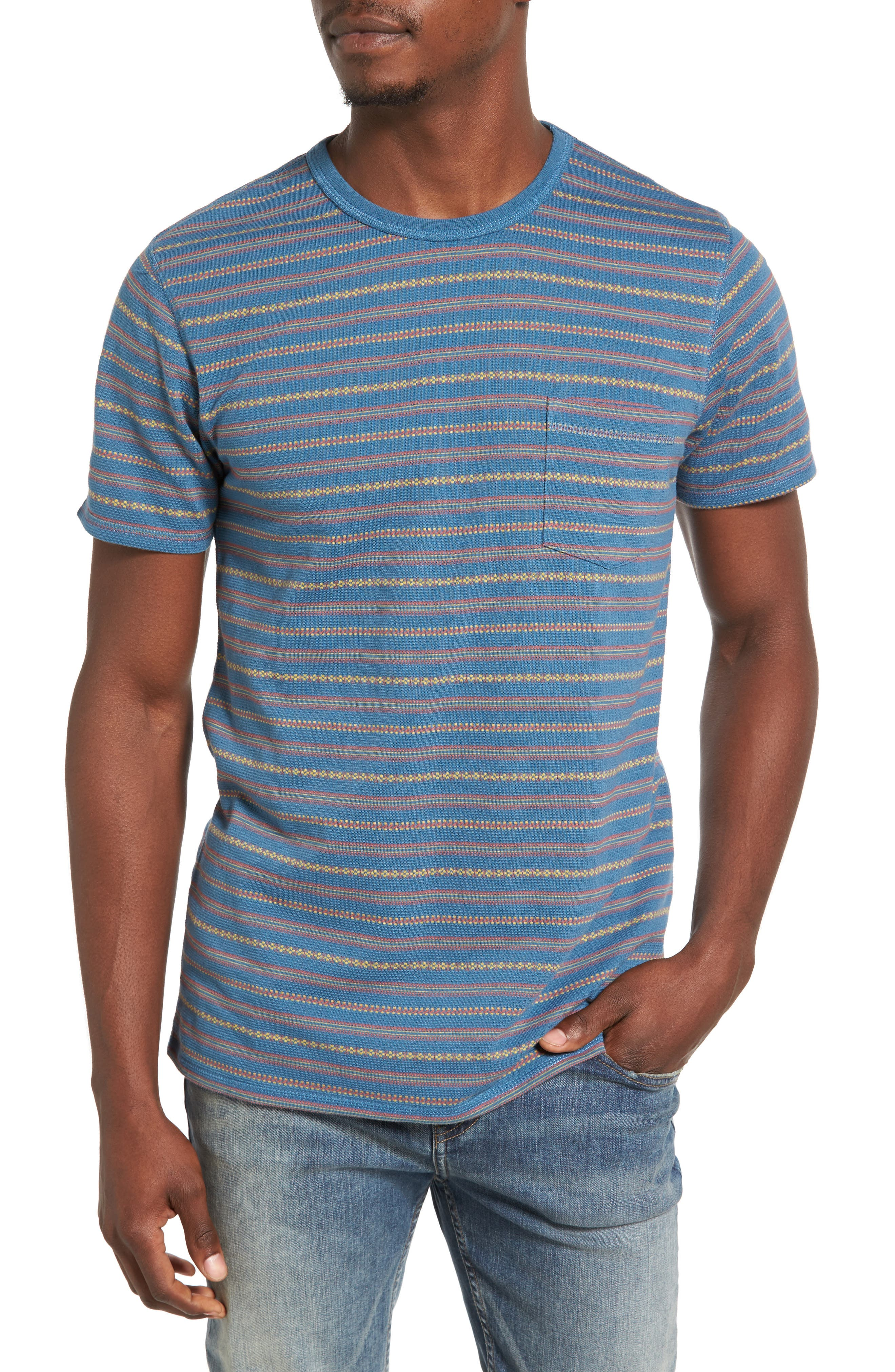 Jacquard Stripe Pocket T-Shirt,                             Main thumbnail 1, color,                             420
