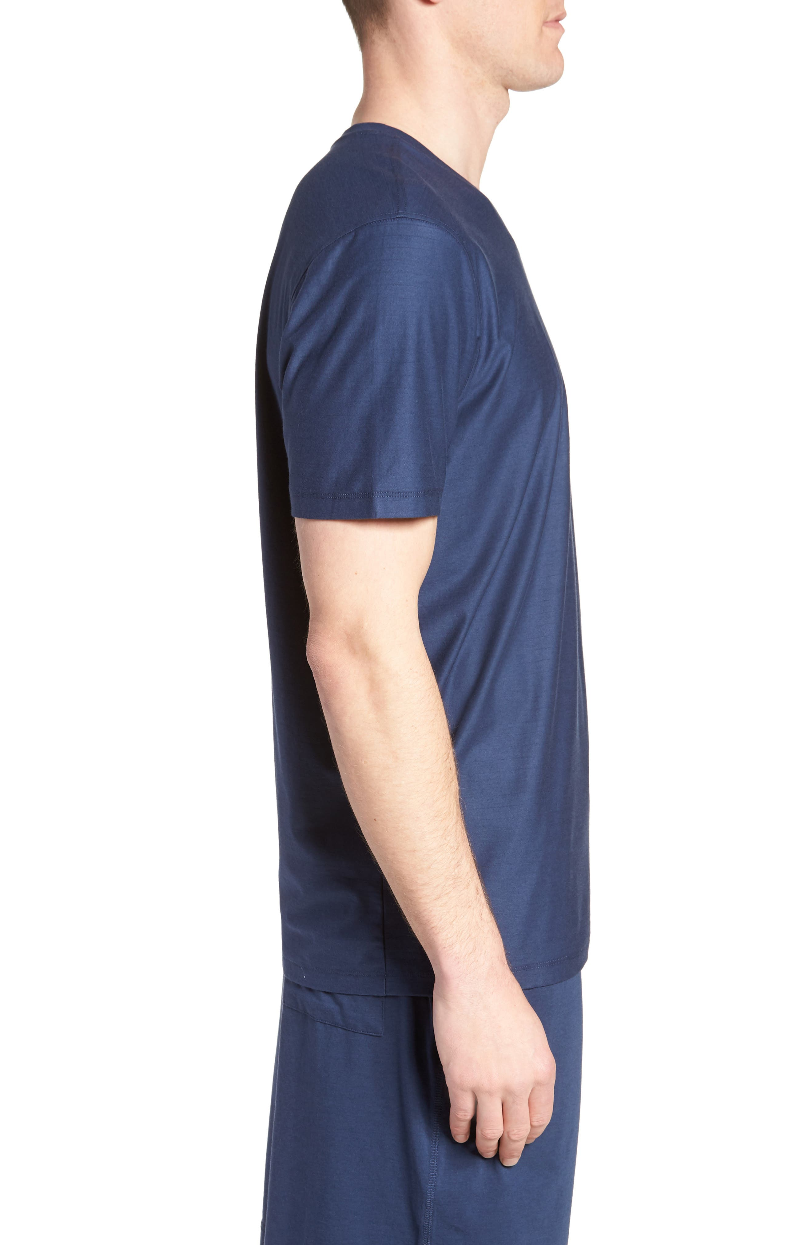 Pima Cotton & Modal V-Neck T-Shirt,                             Alternate thumbnail 3, color,                             NAVY