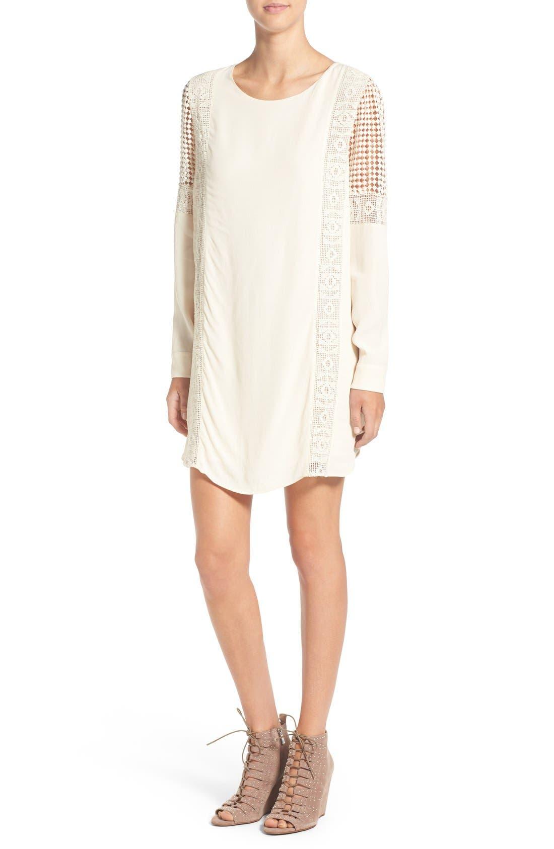 ASTR Crochet Inset Cotton Shift Dress,                             Main thumbnail 2, color,