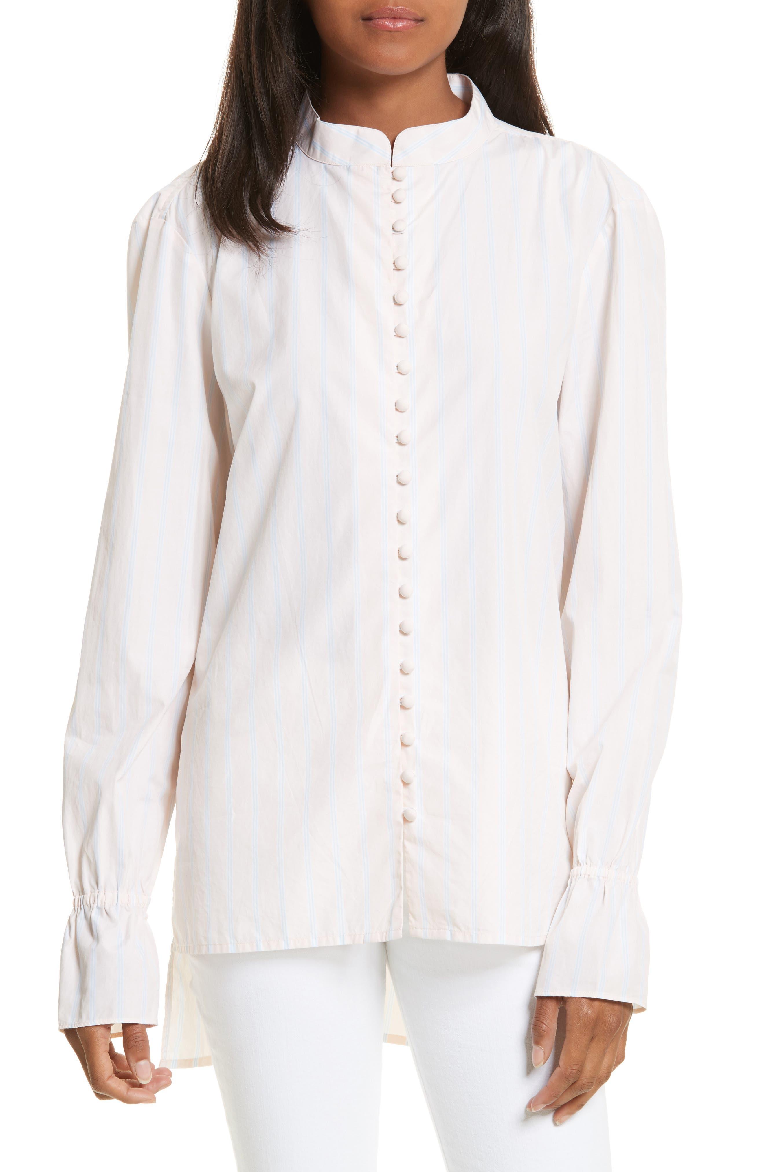 Ruffle Cuff Cotton Shirt,                             Main thumbnail 1, color,