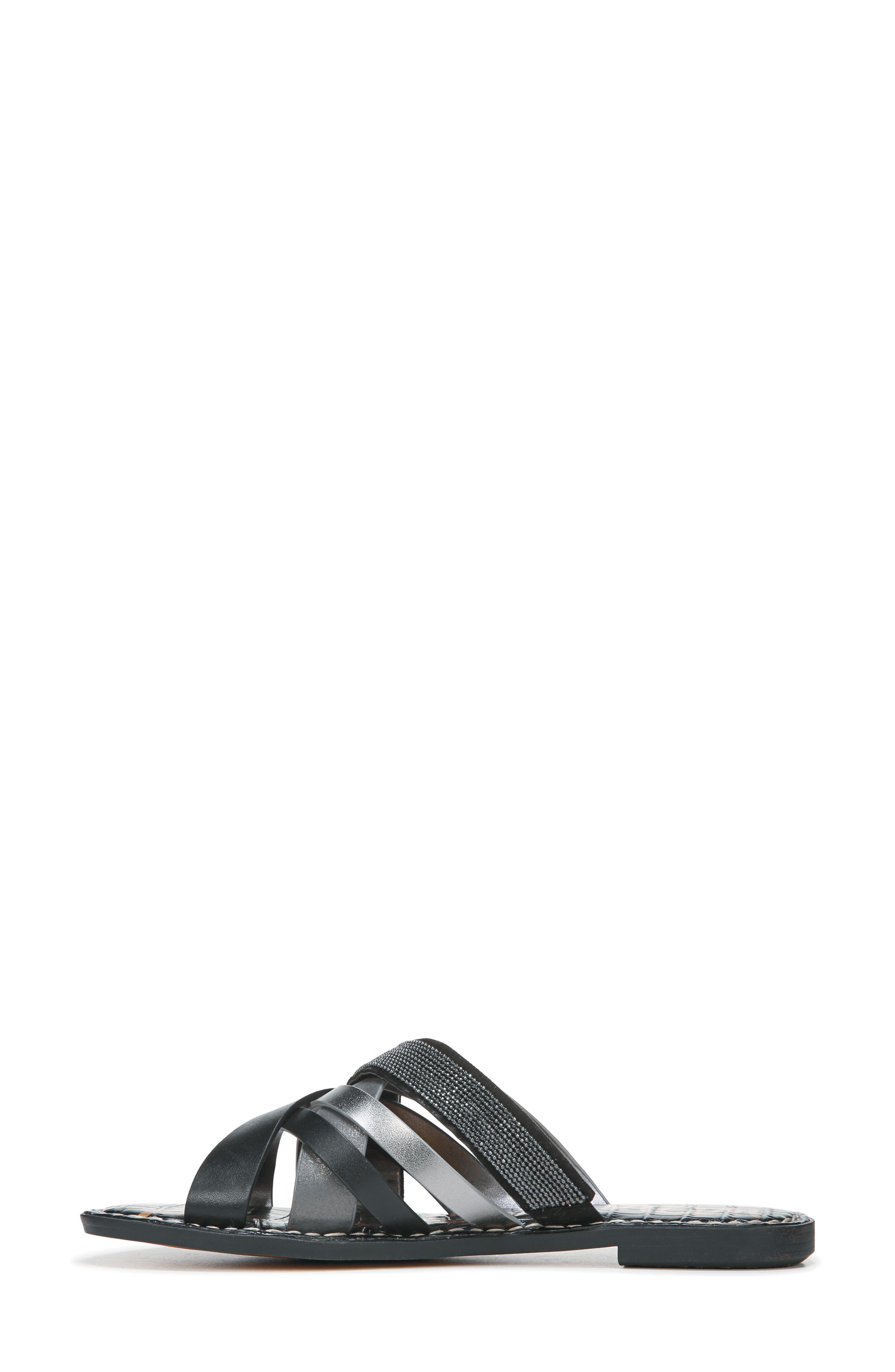 Glennia Slide Sandal,                             Alternate thumbnail 8, color,                             DARK PEWTER/ BLACK LEATHER