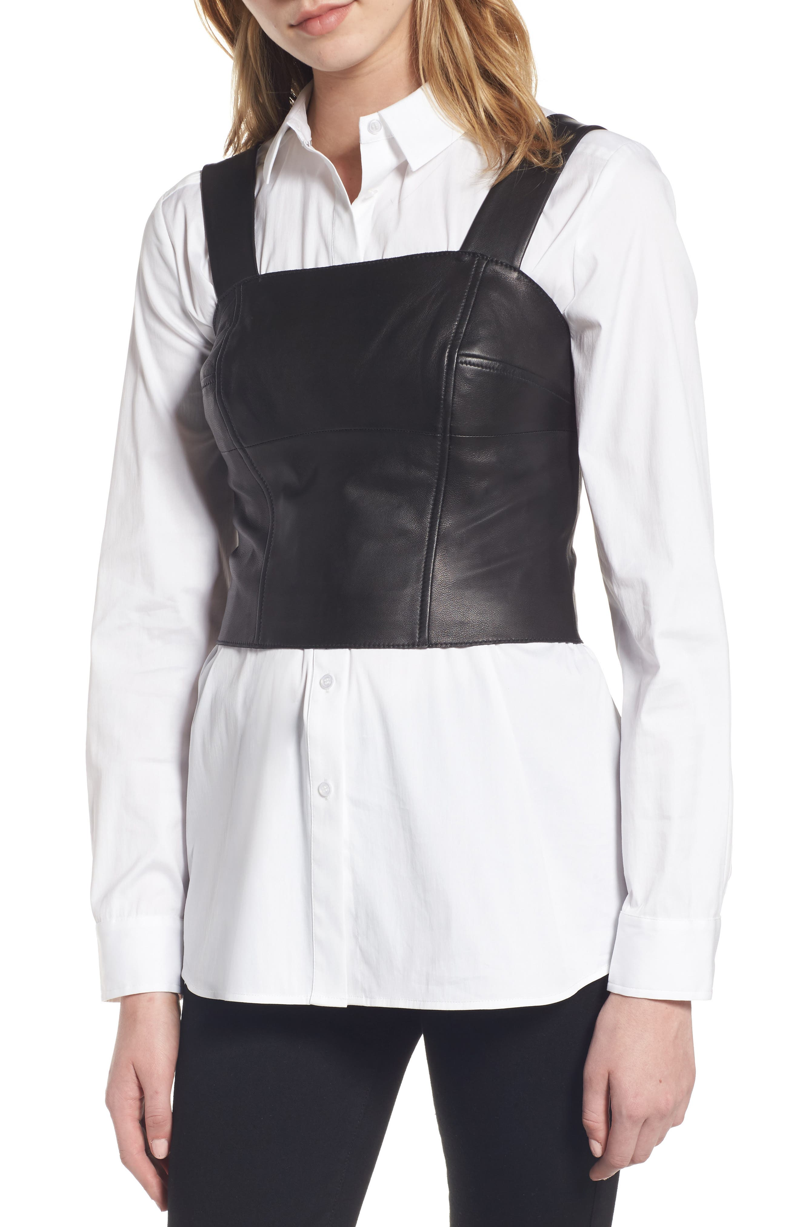 Leather Bustier,                             Main thumbnail 1, color,                             001