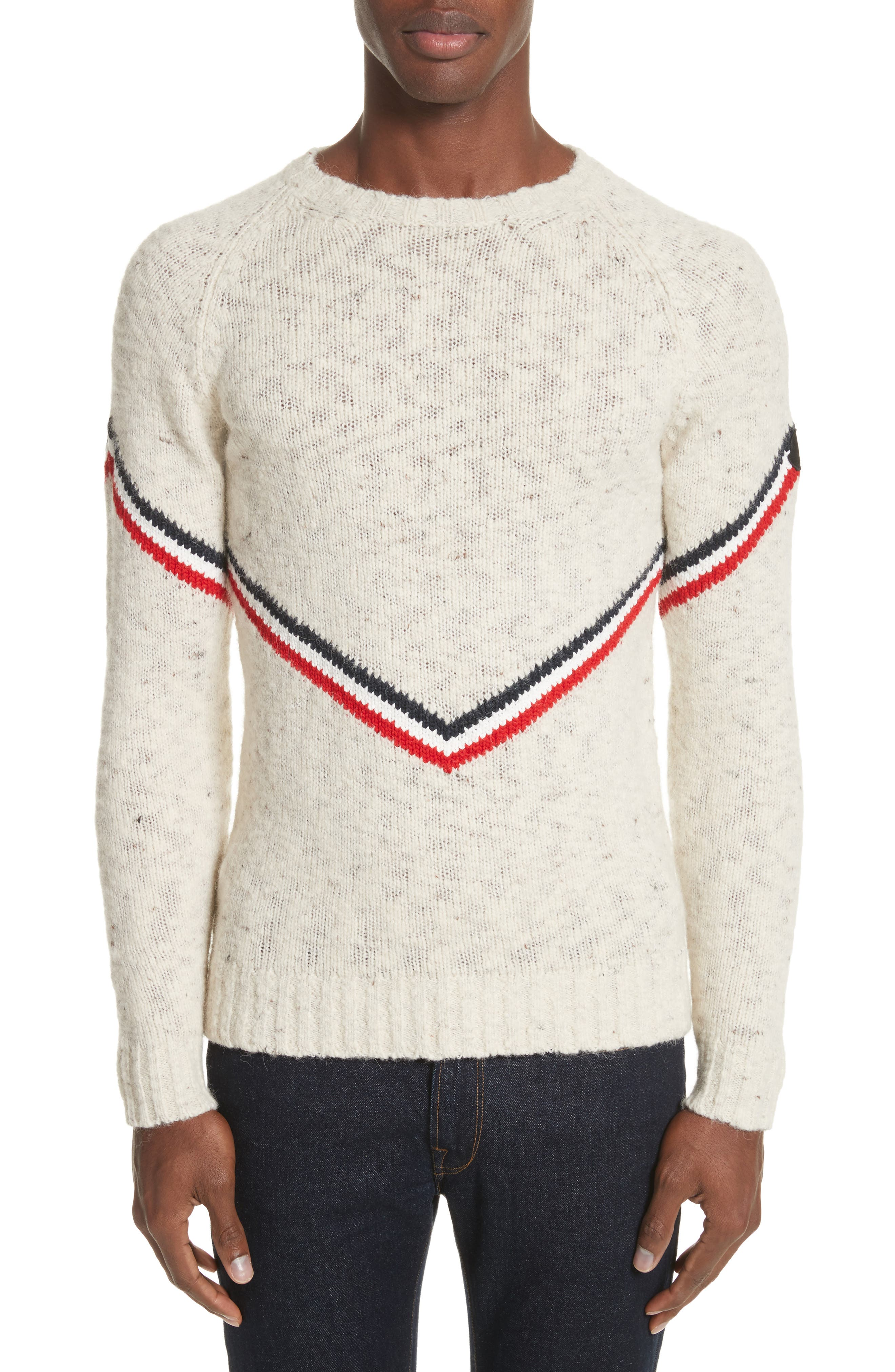 Stripe Donegal Crewneck Sweater,                             Alternate thumbnail 4, color,                             900