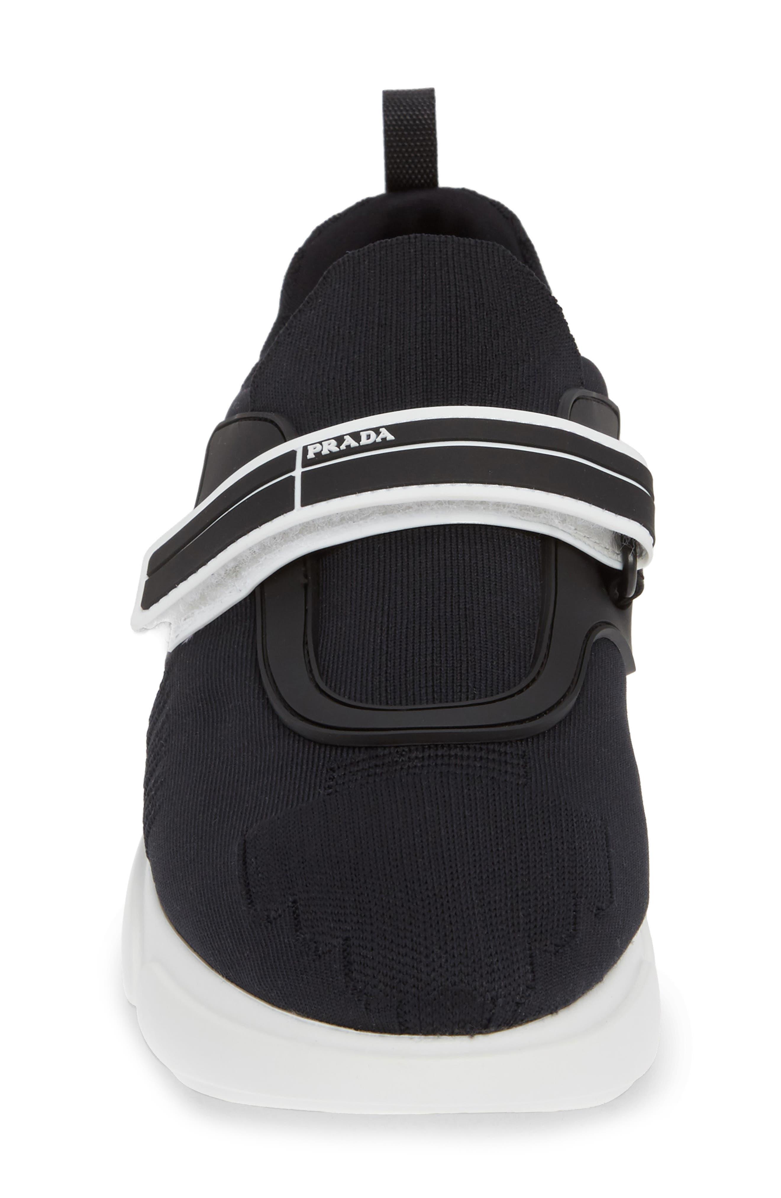 Logo Strap Knit Sneaker,                             Alternate thumbnail 4, color,                             BLACK
