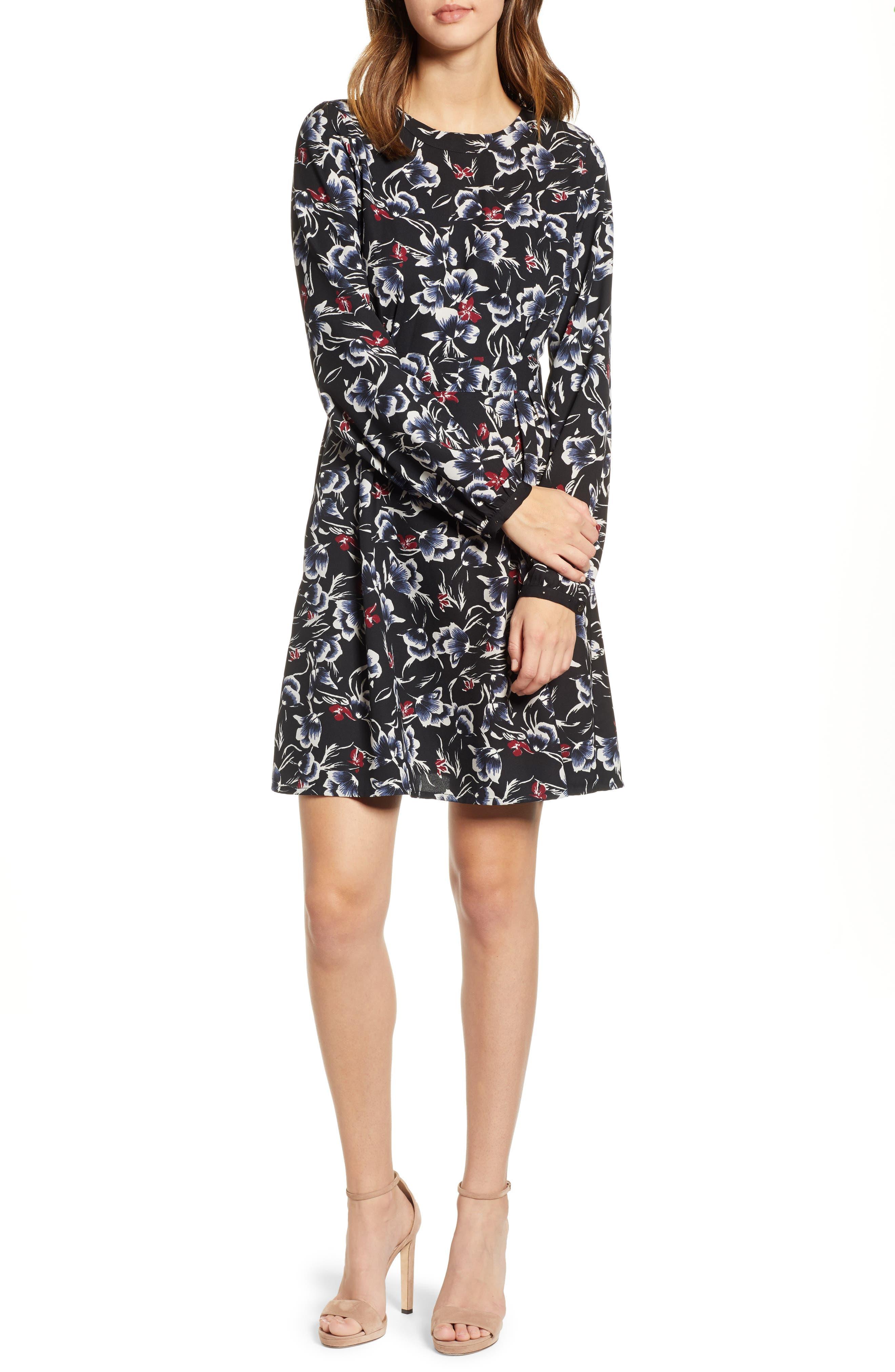 VERO MODA Floral Print Dress in Black