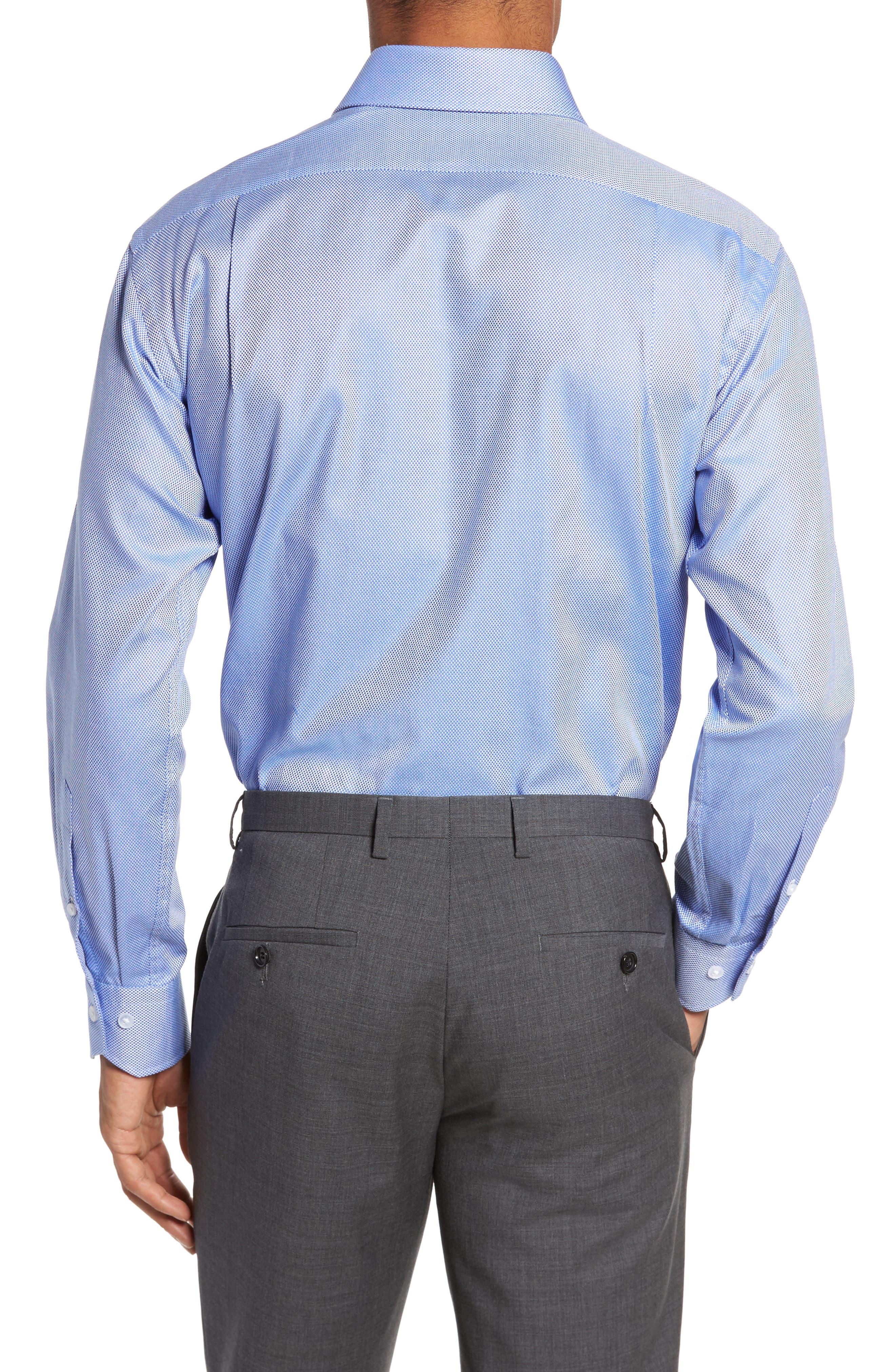 Trim Fit Texture Dress Shirt,                             Alternate thumbnail 2, color,                             NAVY