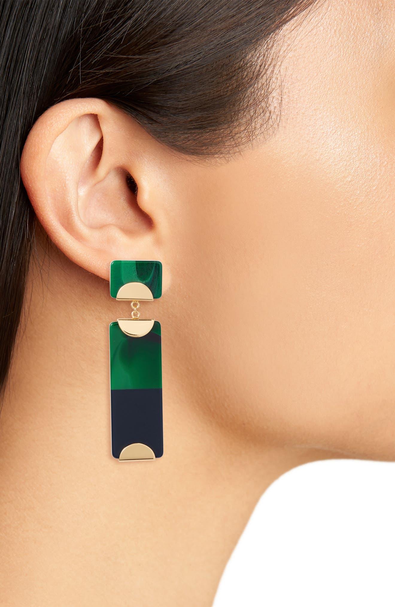 Resin Colorblock Drop Earrings,                             Alternate thumbnail 6, color,