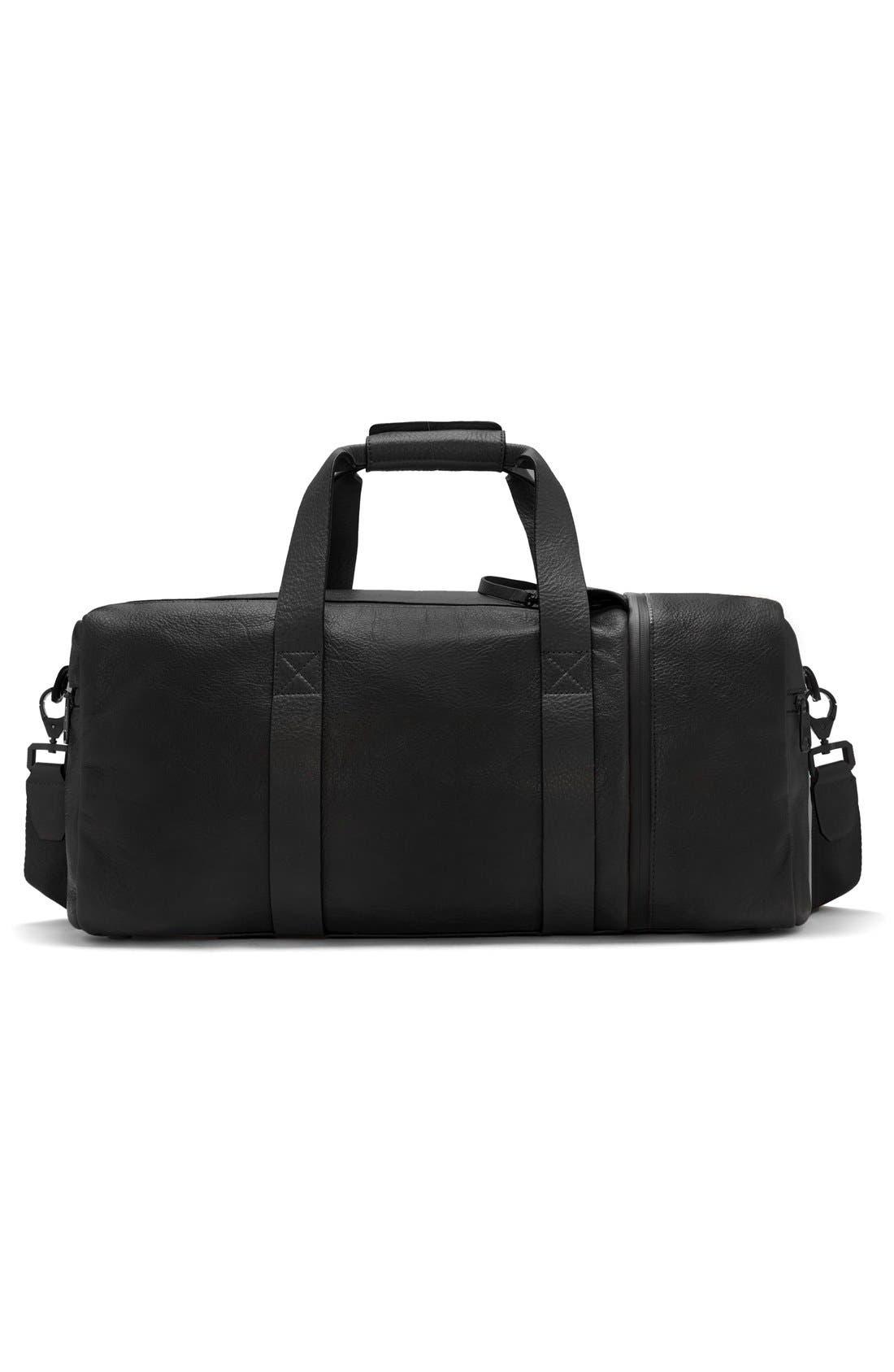 'Mestr' Leather & Suede Duffel Bag,                             Alternate thumbnail 3, color,                             001