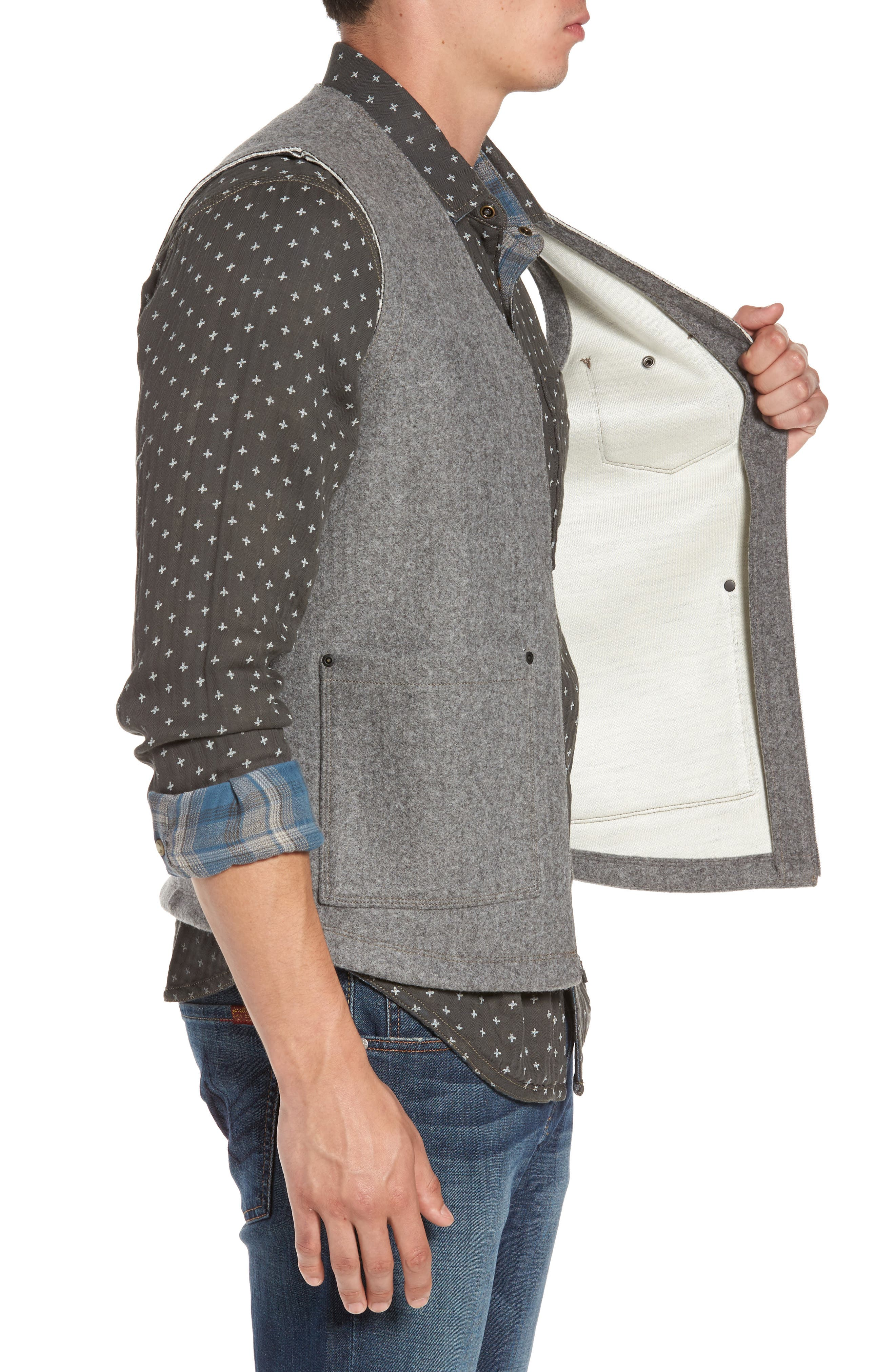 Cambria Heathered Zip Vest,                             Alternate thumbnail 3, color,                             SMOKED PEARL