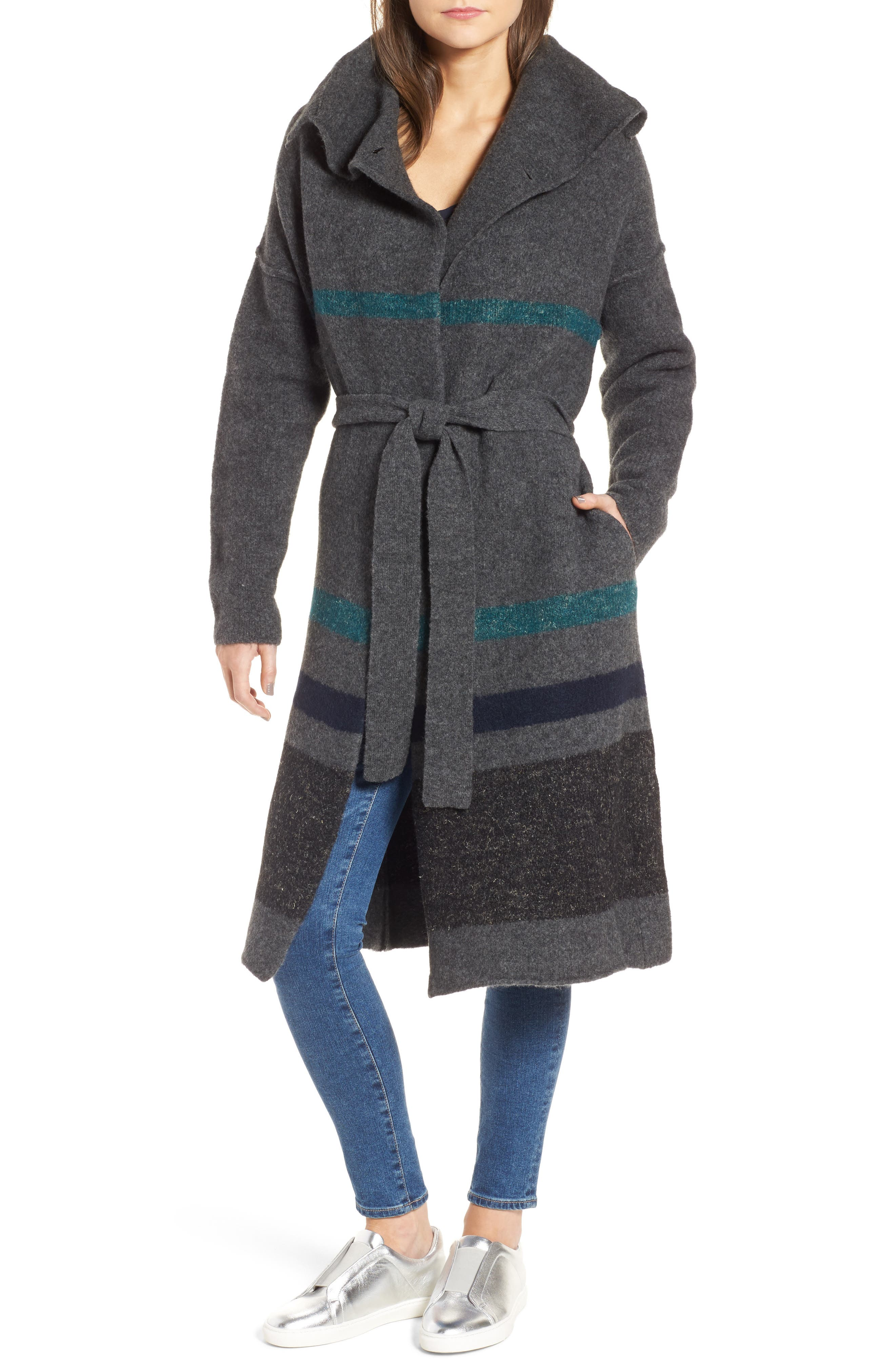 Belted Blanket Stripe Coat,                             Main thumbnail 1, color,                             209