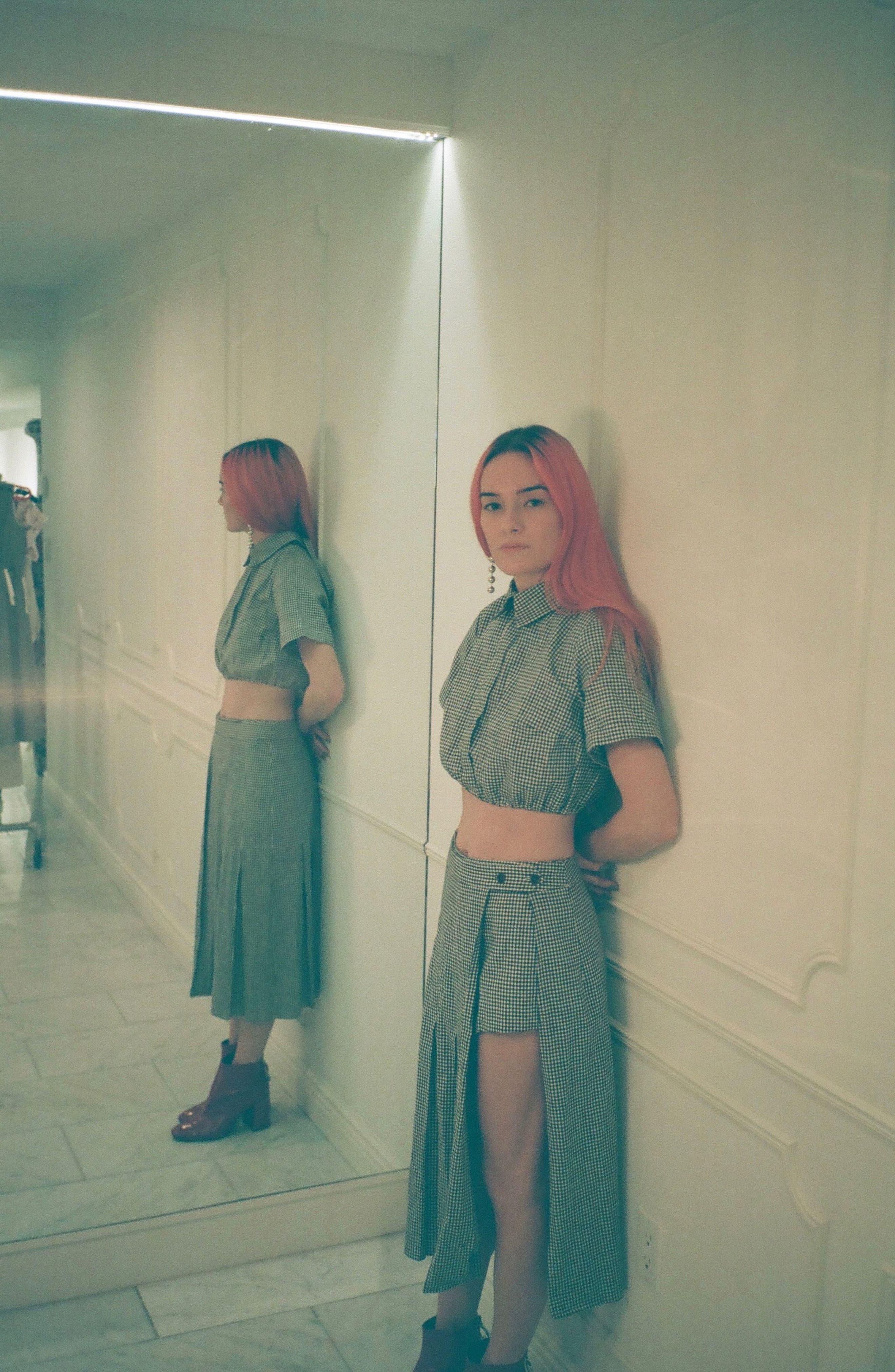 Uniform Gingham Linen & Cotton Skirt,                             Alternate thumbnail 7, color,                             004