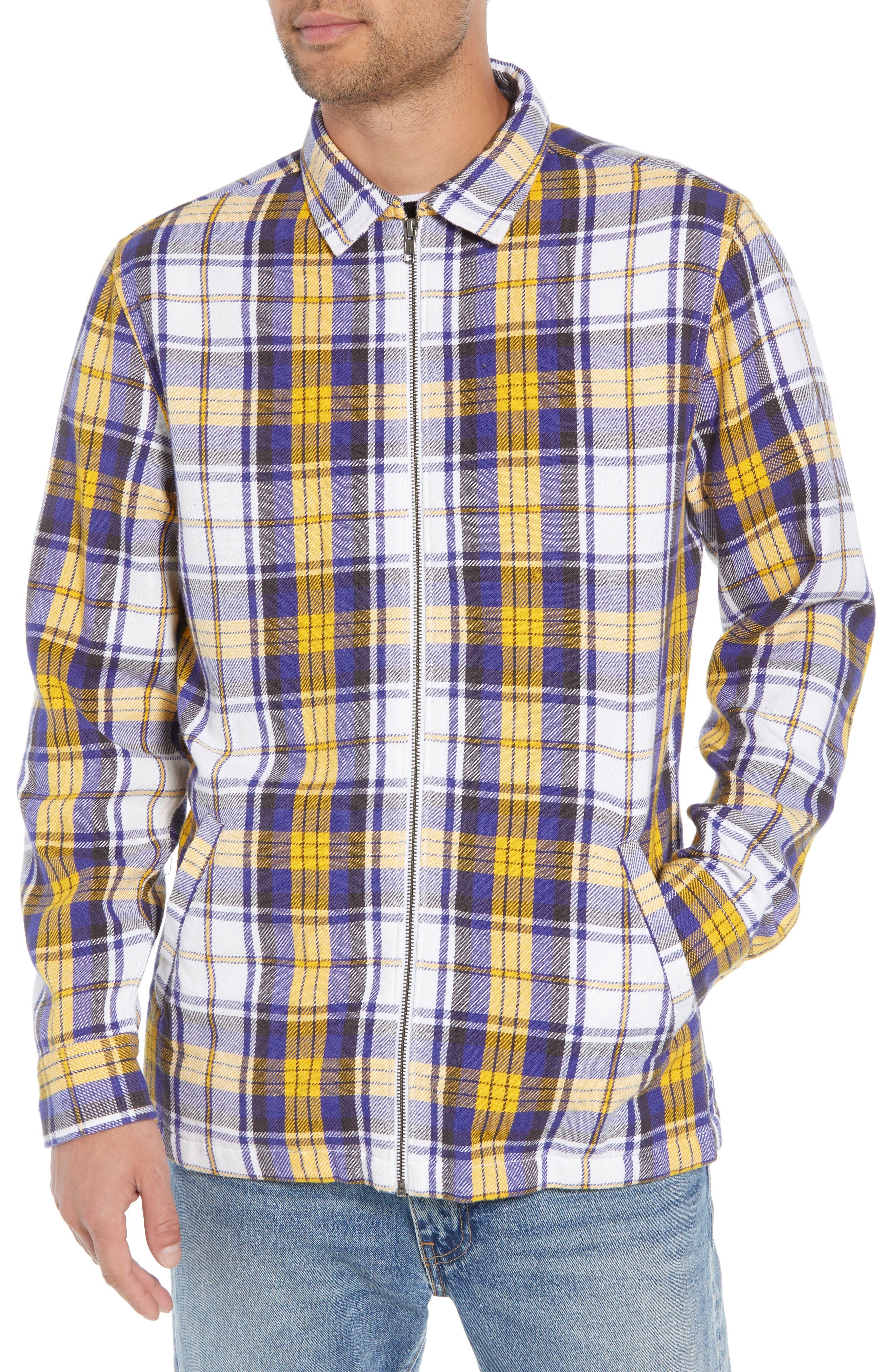 Zip Front Flannel Shirt Jacket,                             Alternate thumbnail 4, color,                             100
