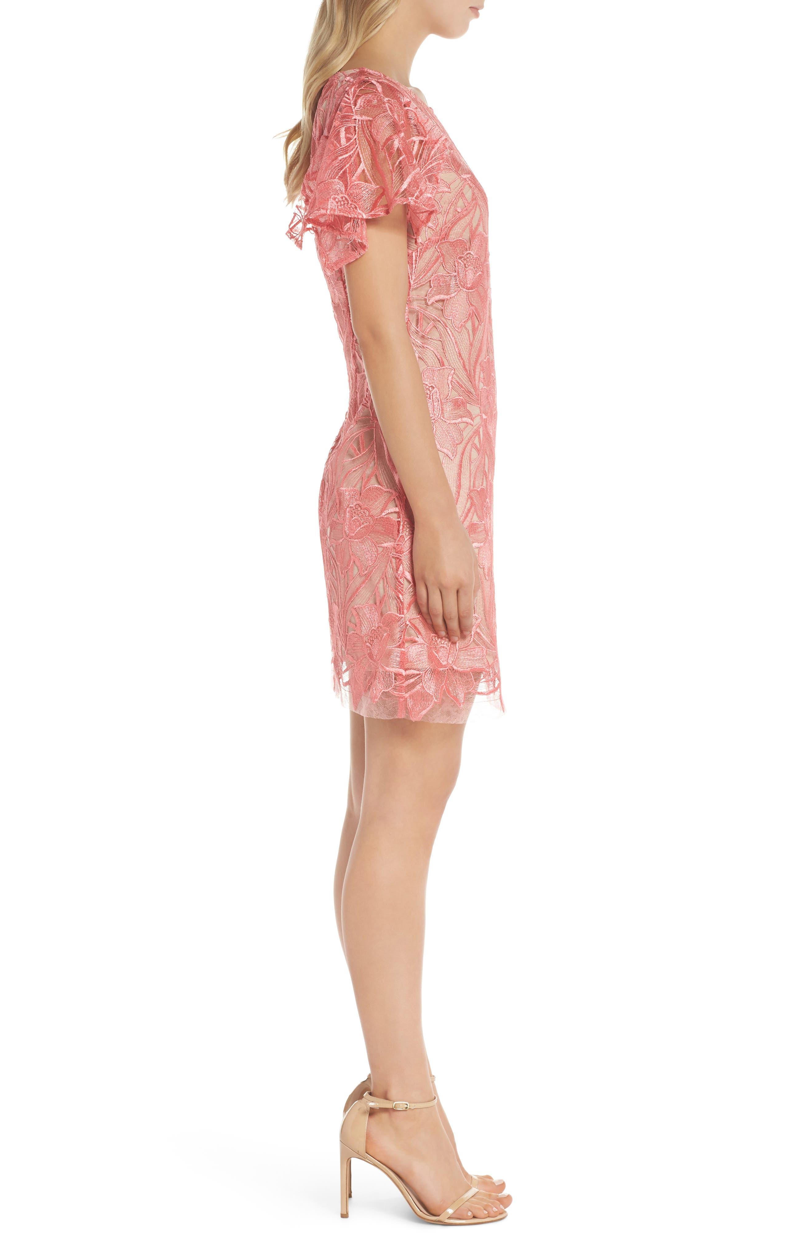 Floral Mesh Lace Shift Dress,                             Alternate thumbnail 3, color,                             950