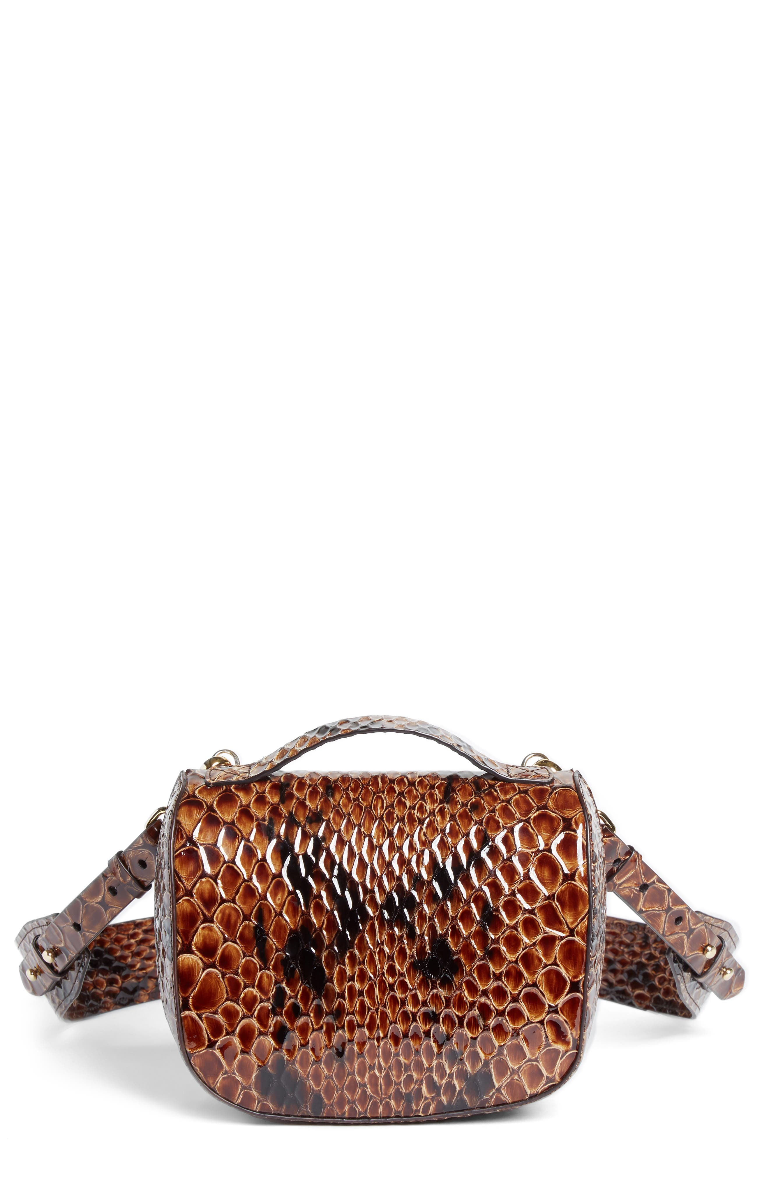 Small Snake Embossed Leather Box Bag,                         Main,                         color, 200