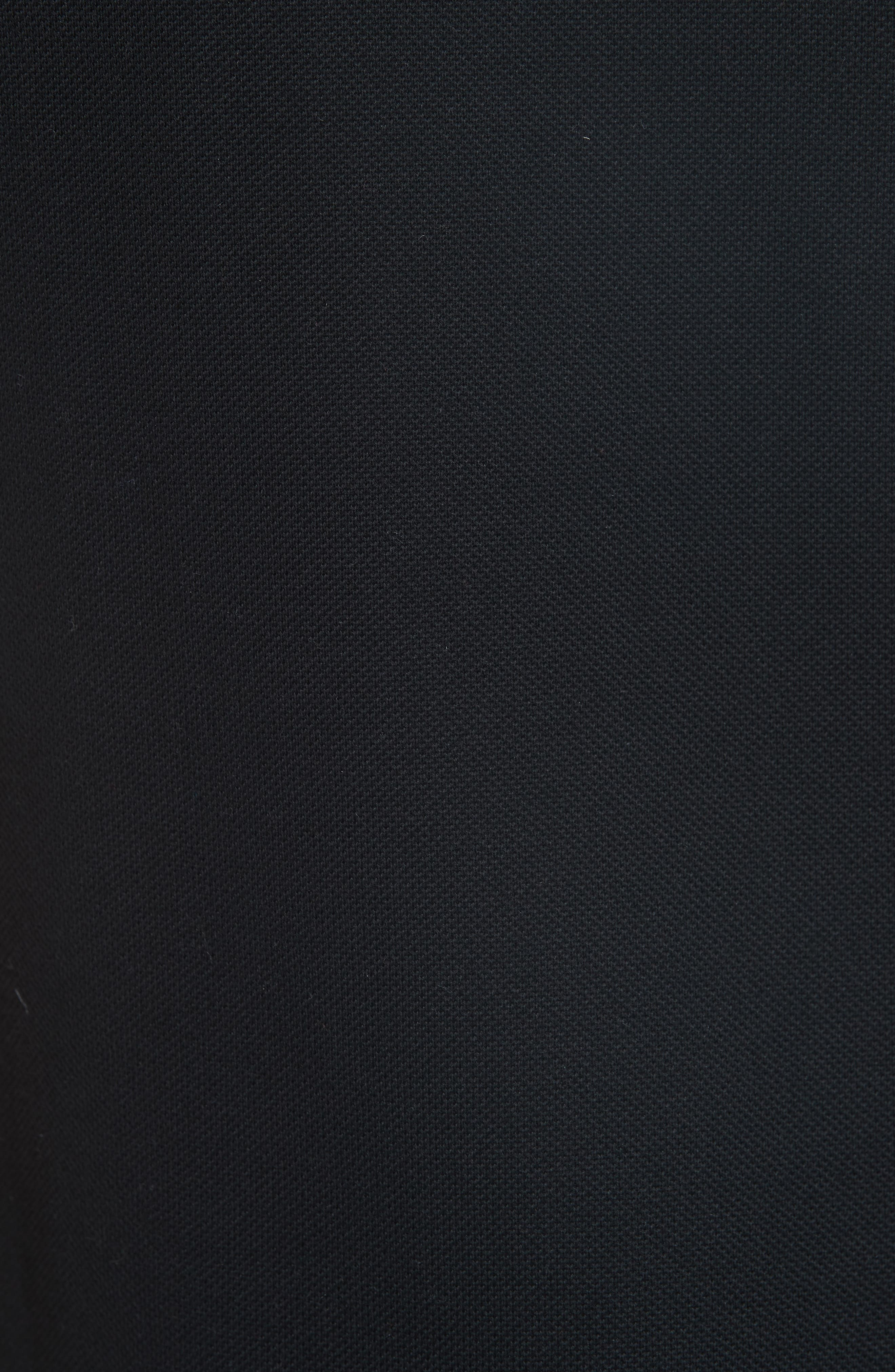 Velvet Sleeve Piqué Polo,                             Alternate thumbnail 5, color,                             BLACK/ ORANGE