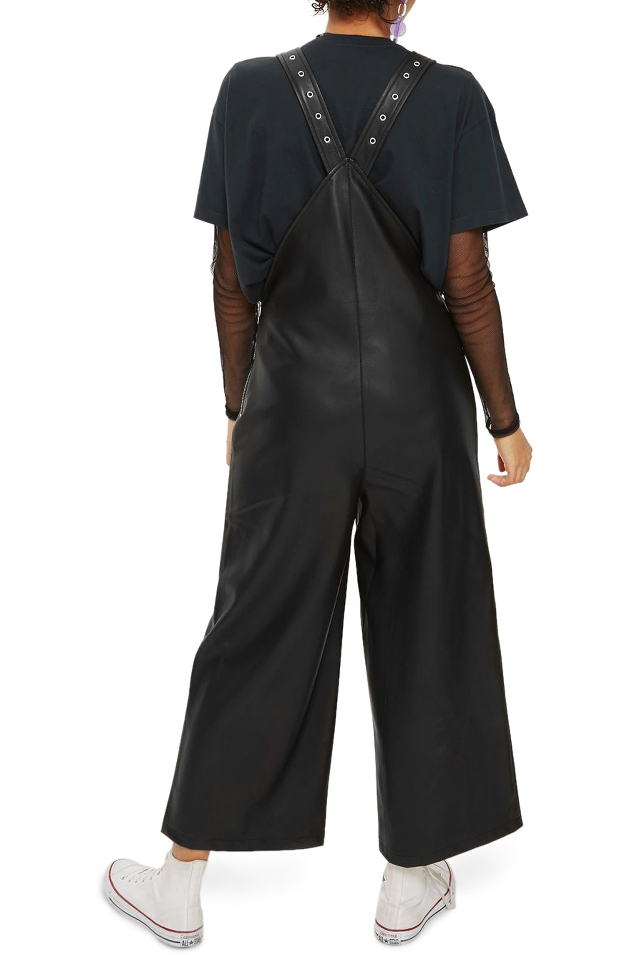 Faux Leather Overalls,                             Alternate thumbnail 2, color,