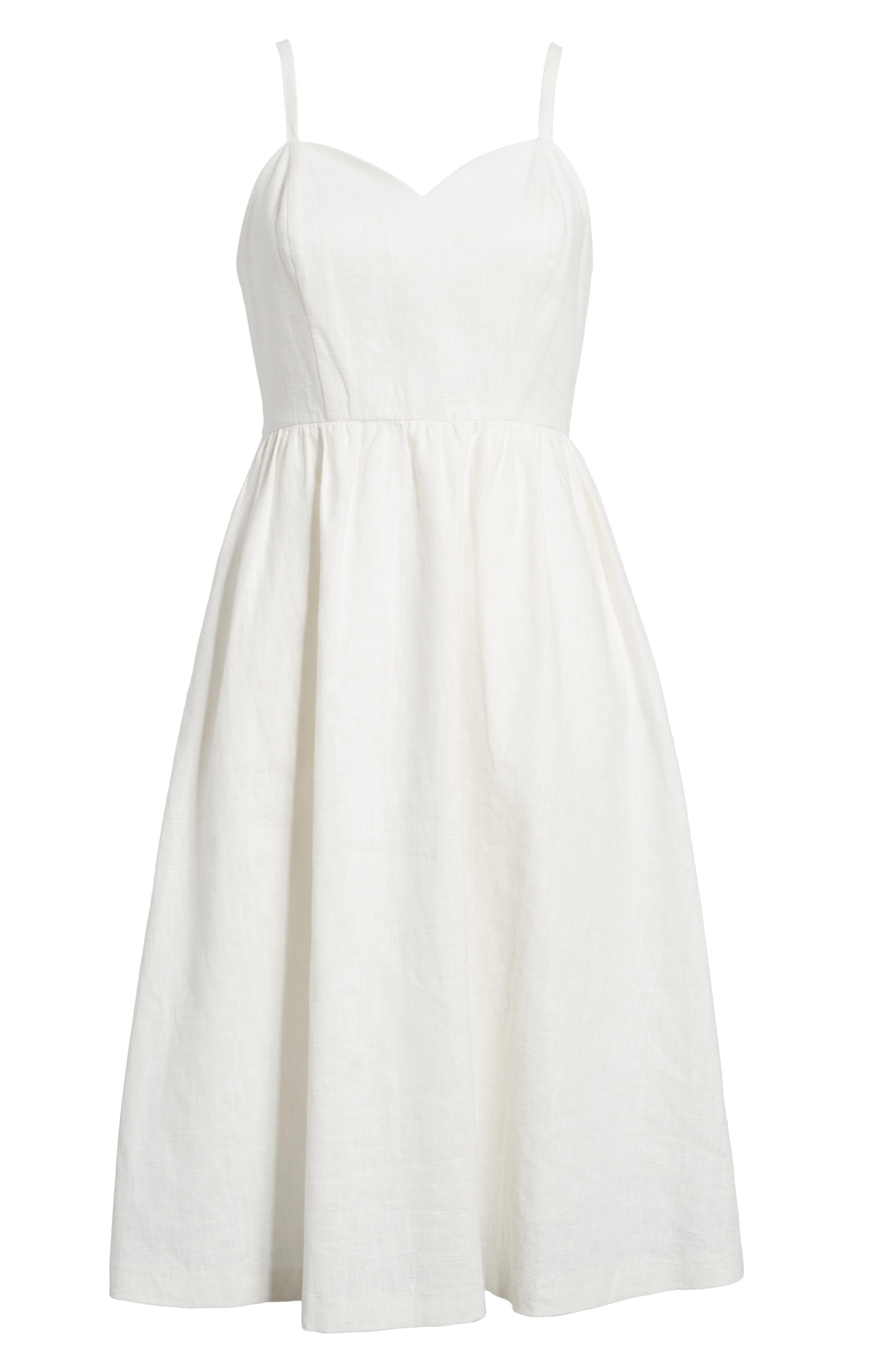 Cotton & Linen Ballerina Midi Dress,                             Alternate thumbnail 6, color,                             WHITE