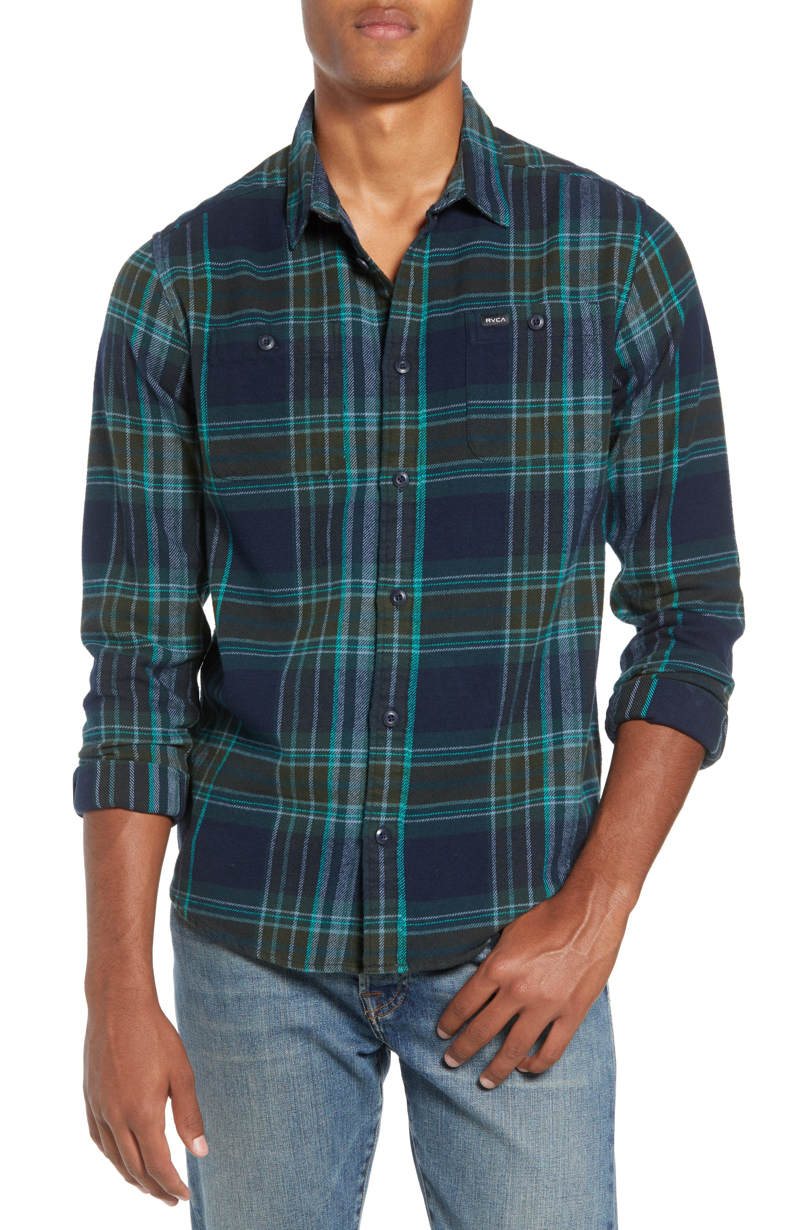 Rvca Ludlow Plaid Flannel Shirt, Blue