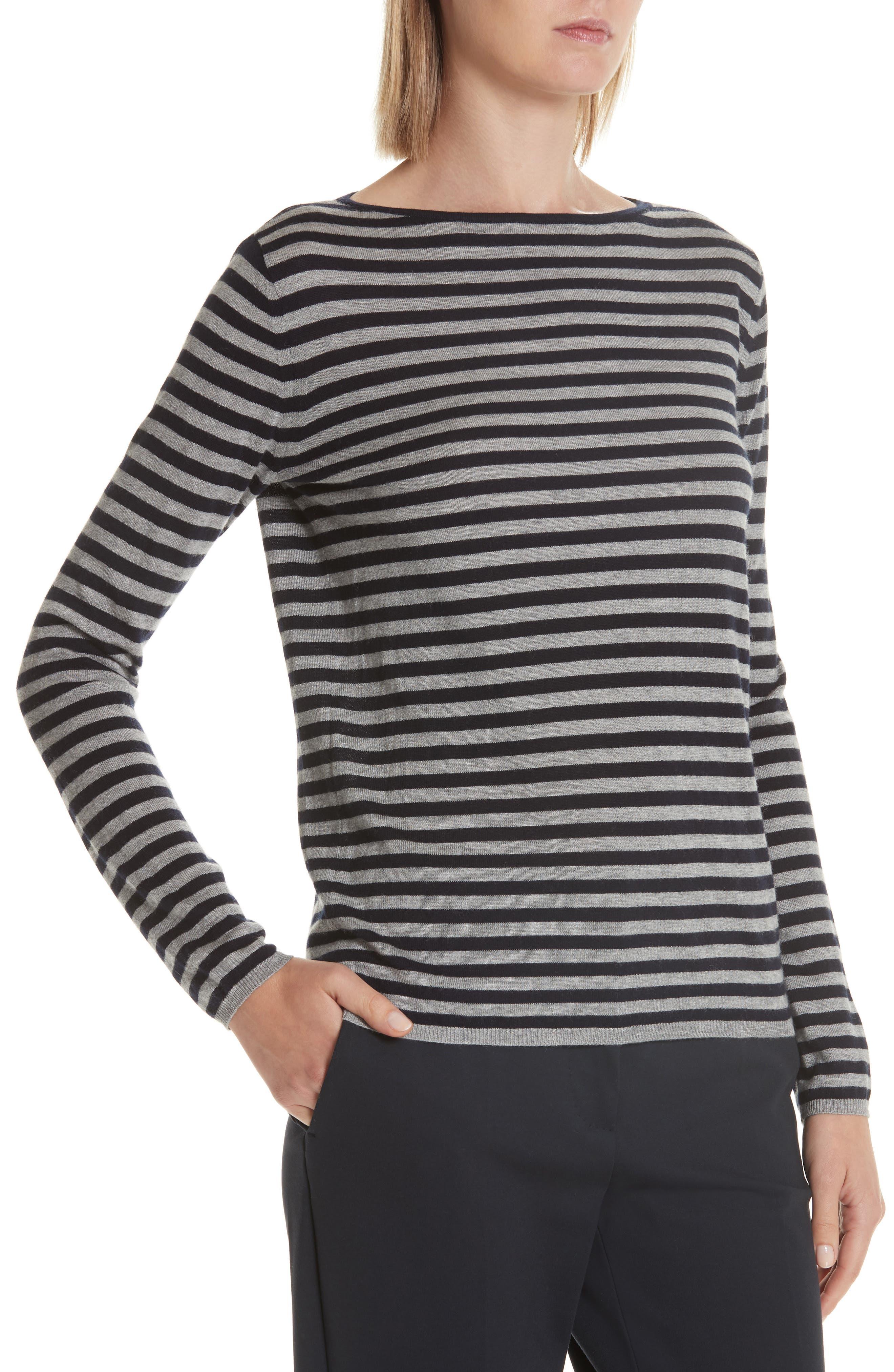 MAX MARA,                             Nardo Stripe Silk & Cashmere Sweater,                             Alternate thumbnail 4, color,                             LIGHT GREY