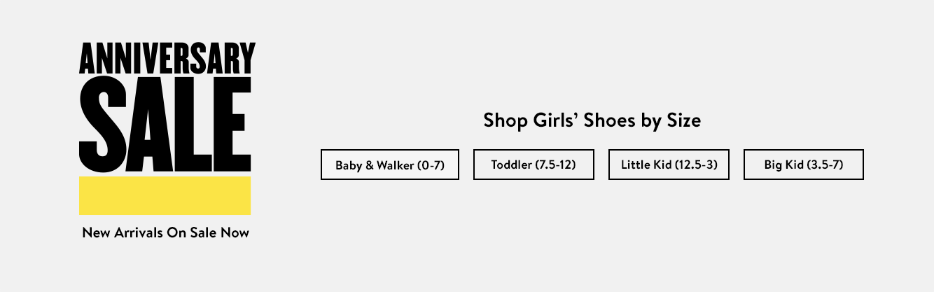 Shop girls' shoes by size.