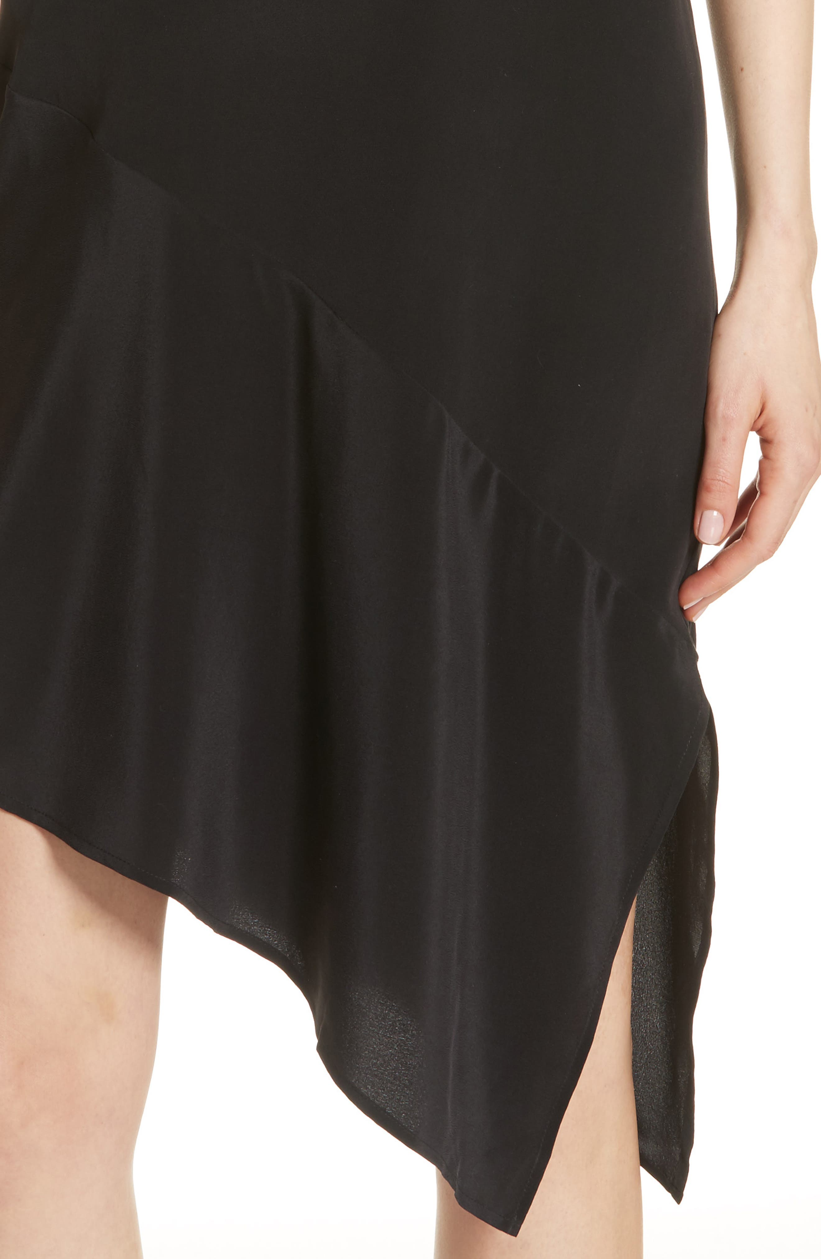 Tira Asymmetrical Hem Silk Shirtdress,                             Alternate thumbnail 4, color,                             003