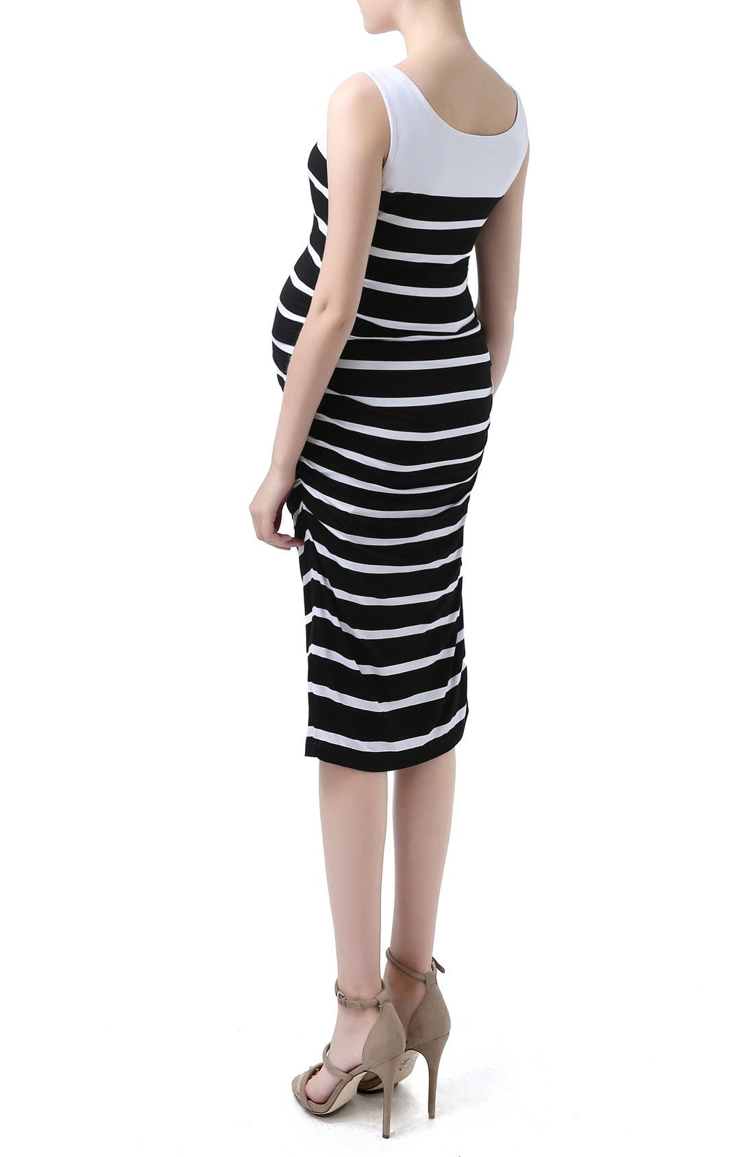 'Jackie' Stripe Sleeveless Maternity Midi Dress,                             Alternate thumbnail 3, color,                             002
