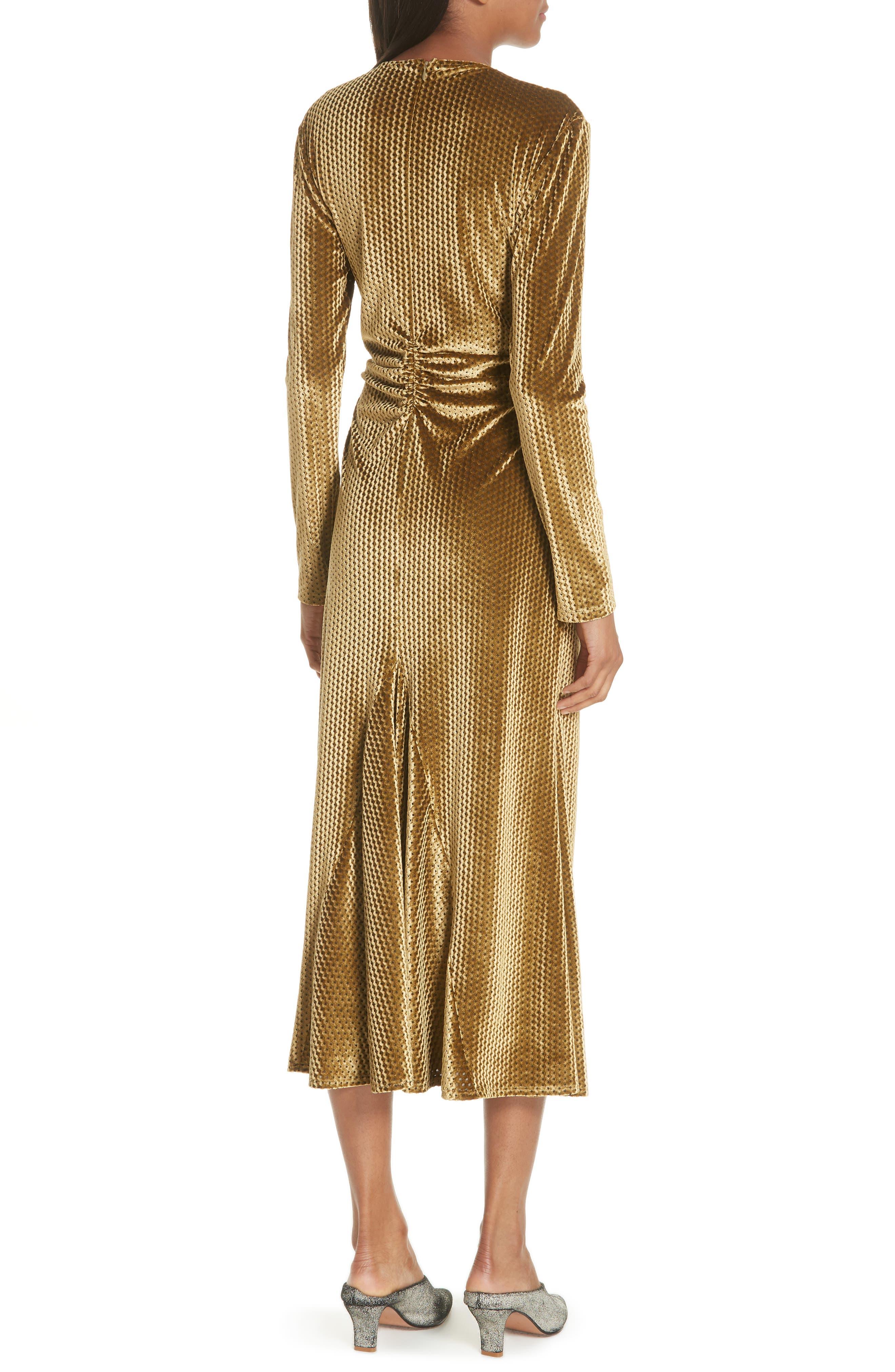 Ruched Velvet Jacquard Midi Dress,                             Alternate thumbnail 2, color,                             GOLD