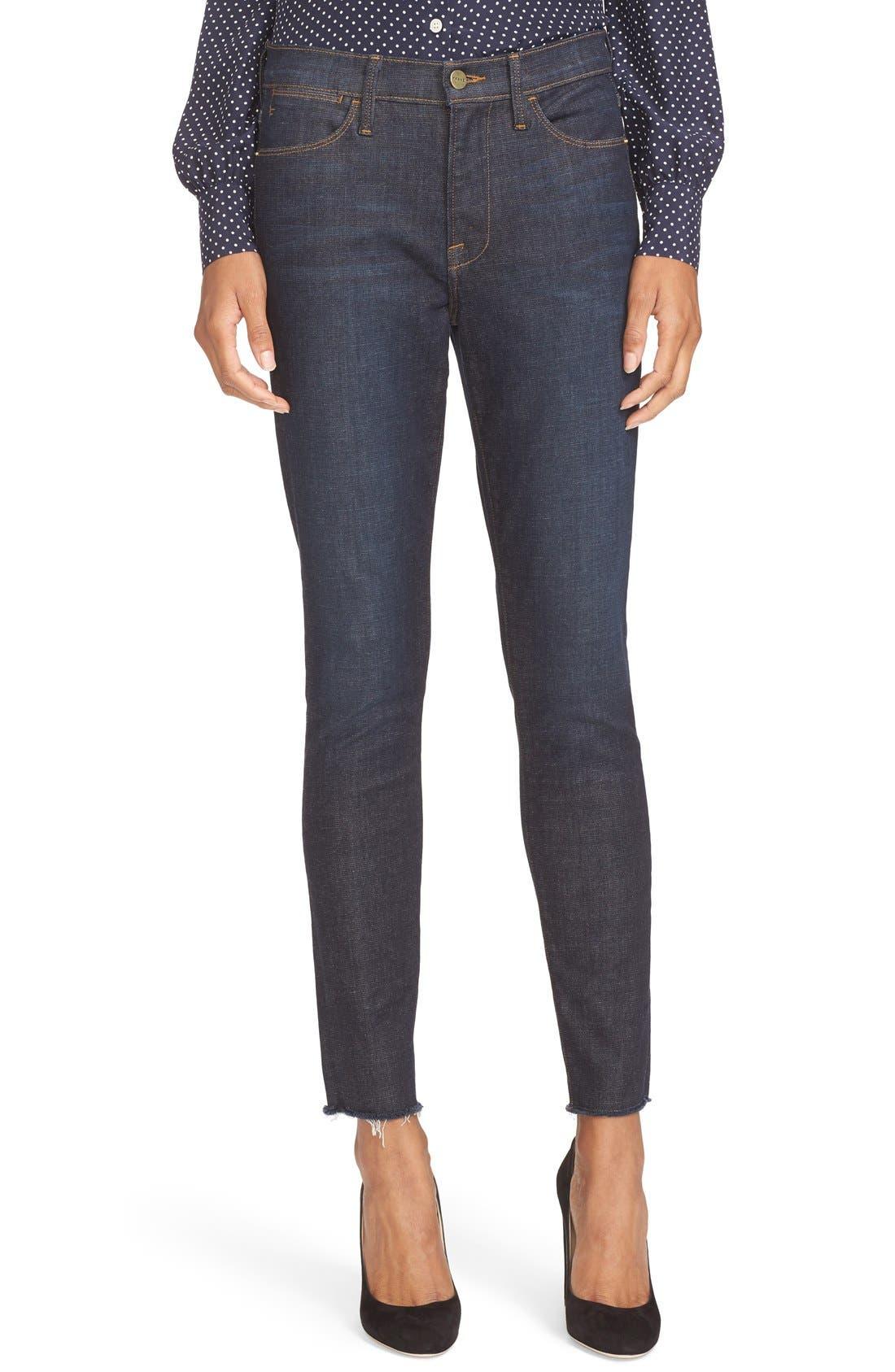 High Waist Skinny Jeans,                             Alternate thumbnail 7, color,                             SALTAIR