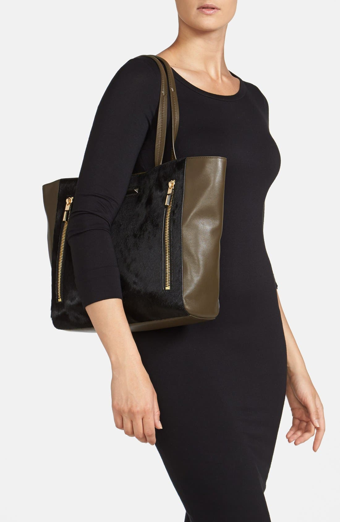 'James' Genuine Calf Hair & Leather Tote,                             Alternate thumbnail 3, color,                             001