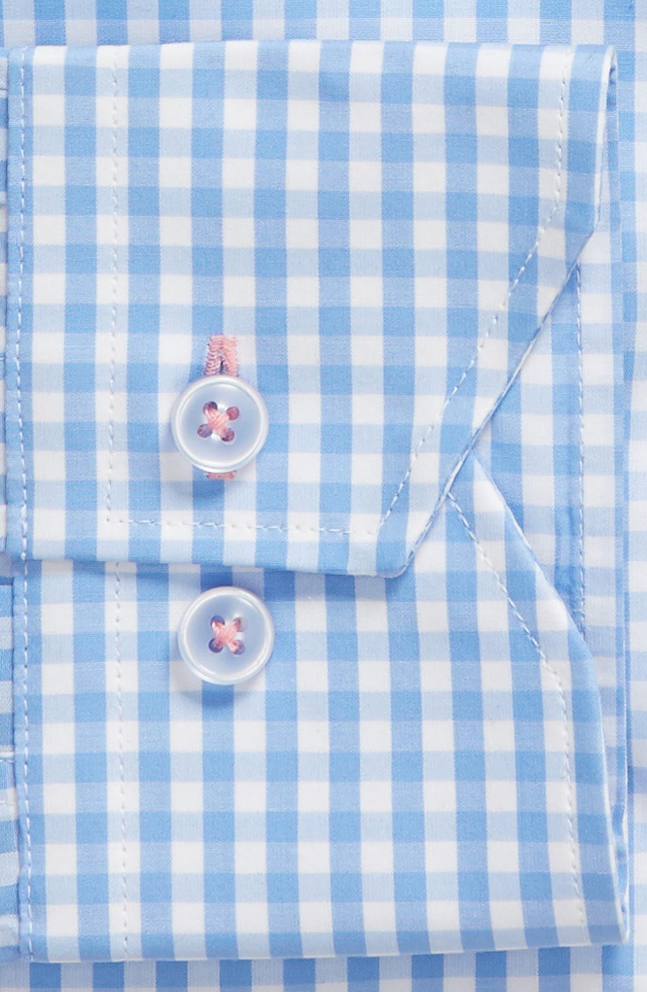 Trim Fit Check Dress Shirt,                             Alternate thumbnail 6, color,                             LIGHT BLUE