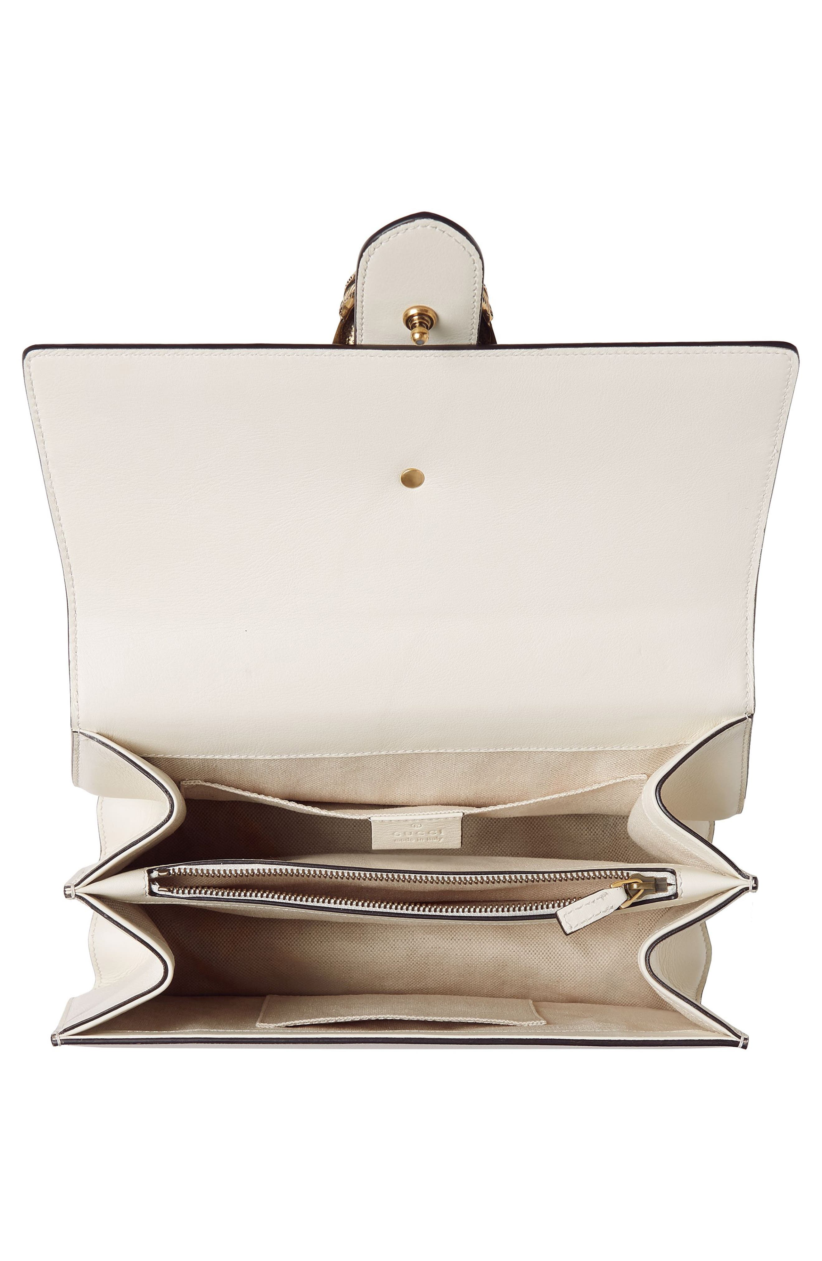 Small Dionysus Top Handle Leather Shoulder Bag,                             Alternate thumbnail 4, color,                             MYSTIC WHITE/ BLUE/ RED