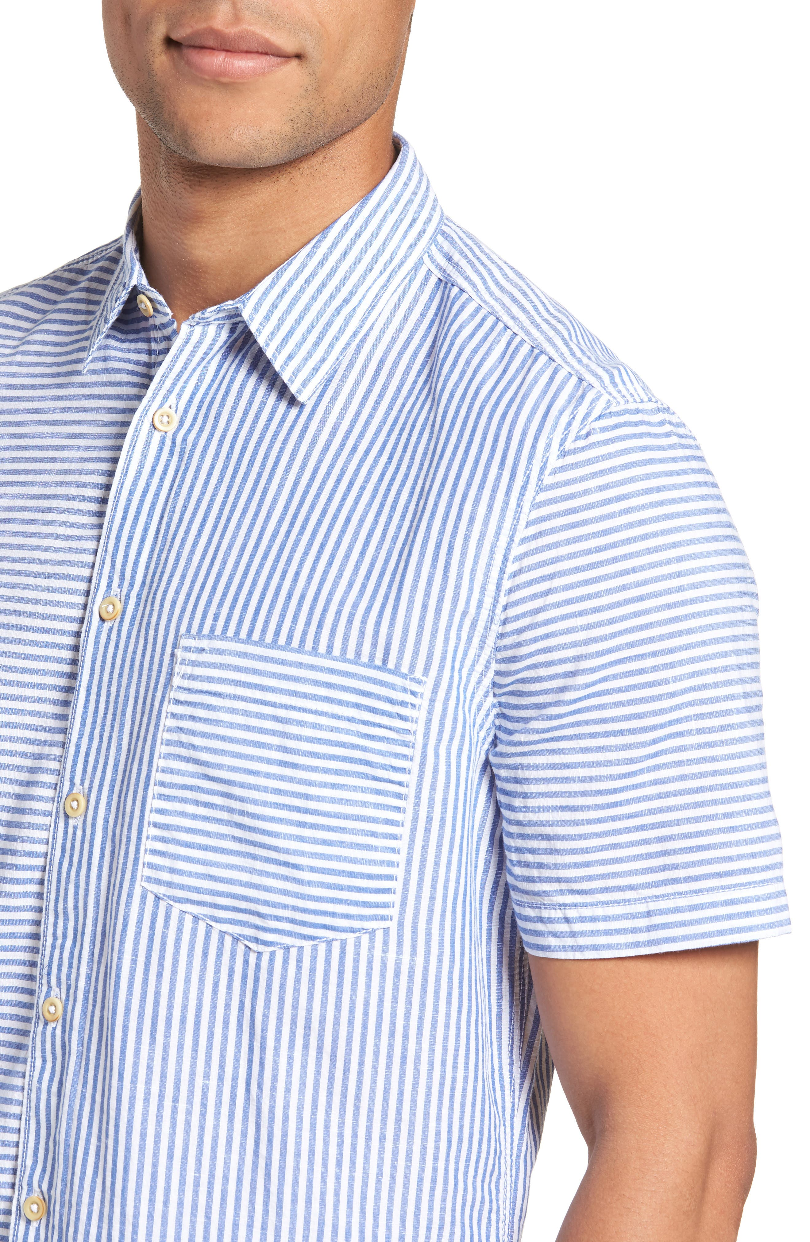 Stripe Chambray Cotton & Linen Sport Shirt,                             Alternate thumbnail 4, color,                             RICH BLUE