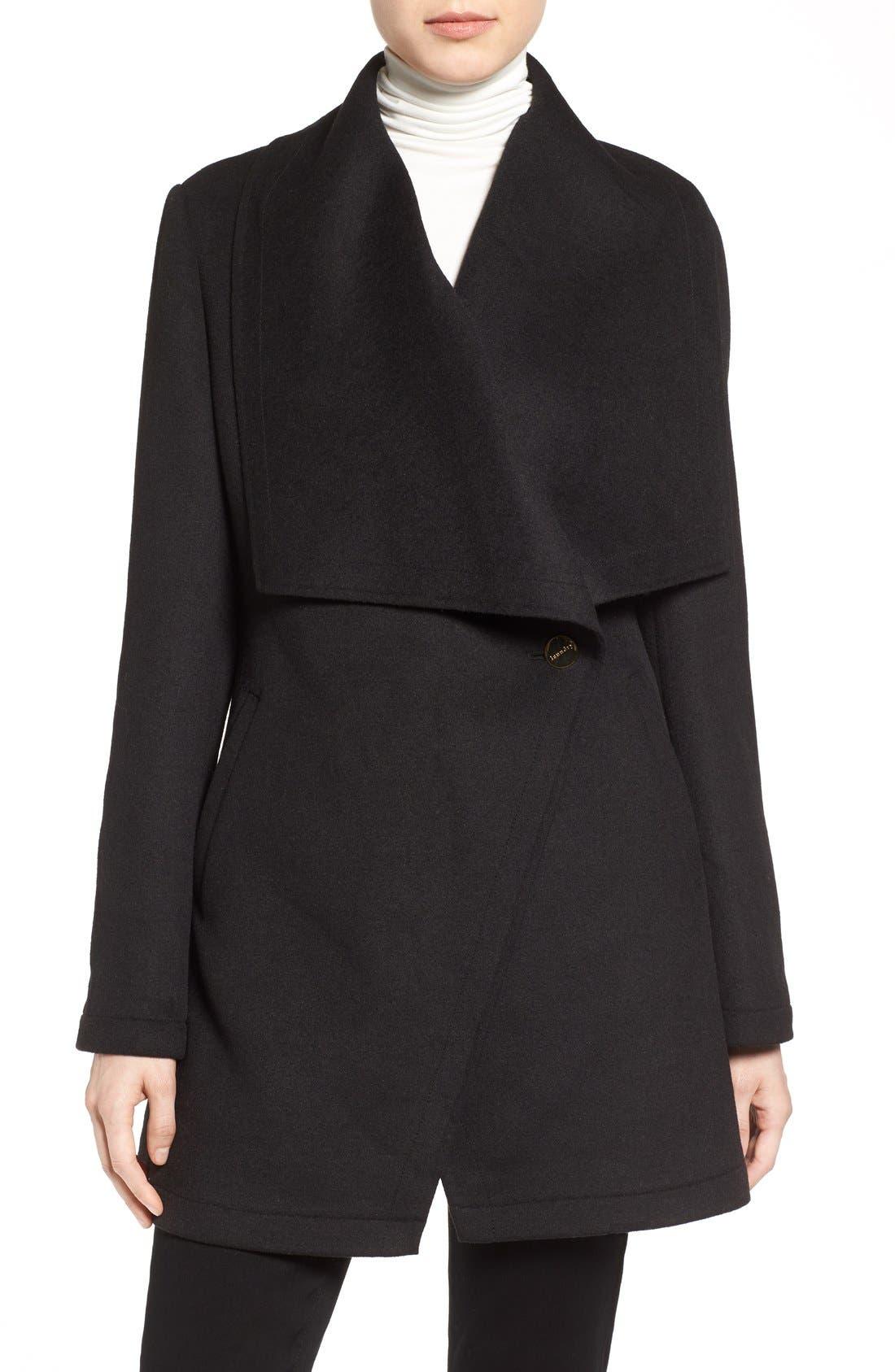 Double Face Drape Collar Coat,                         Main,                         color, 001