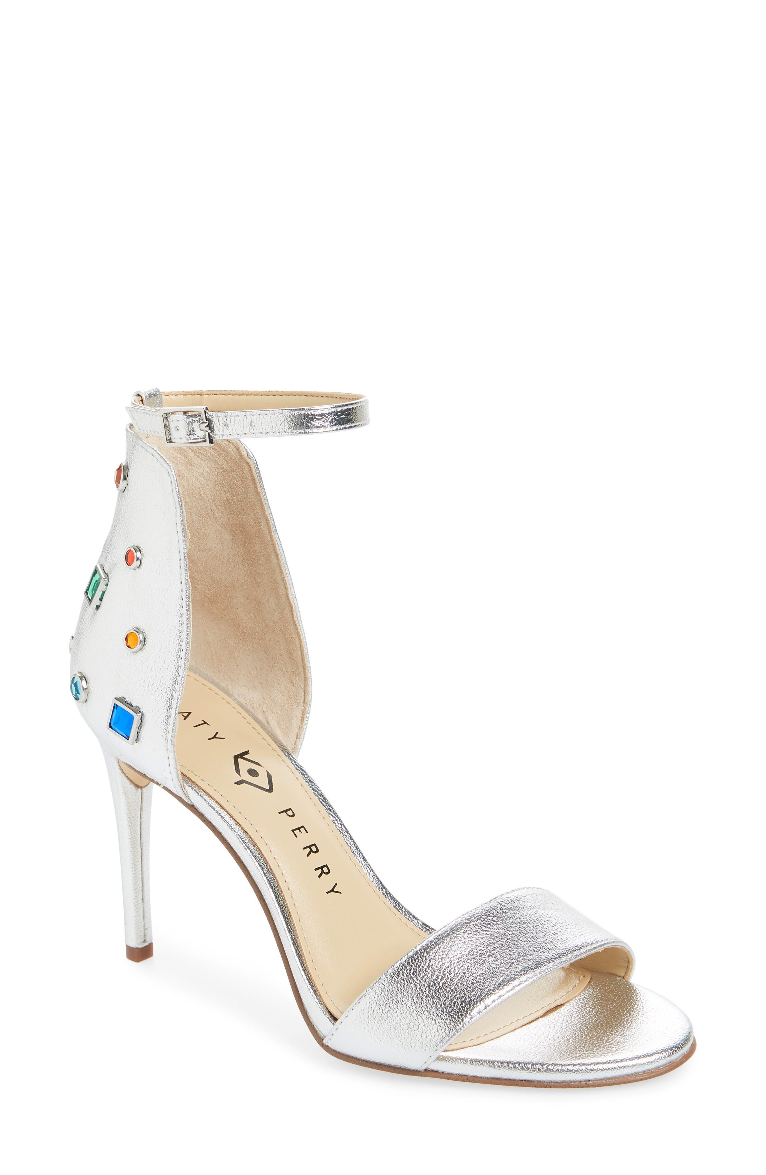 Jewel Ankle Strap Sandal in Silver